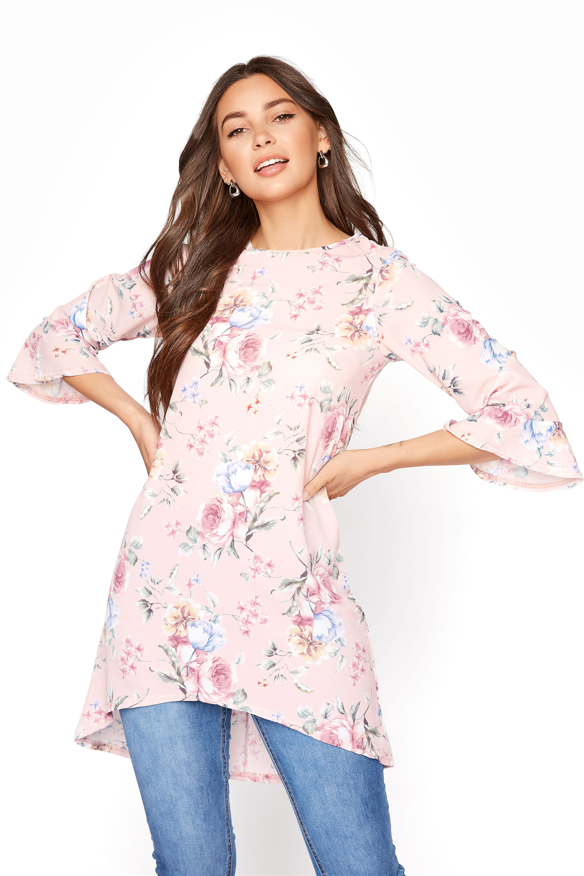 LTS Blush Pink Floral Flute Sleeve Tunic