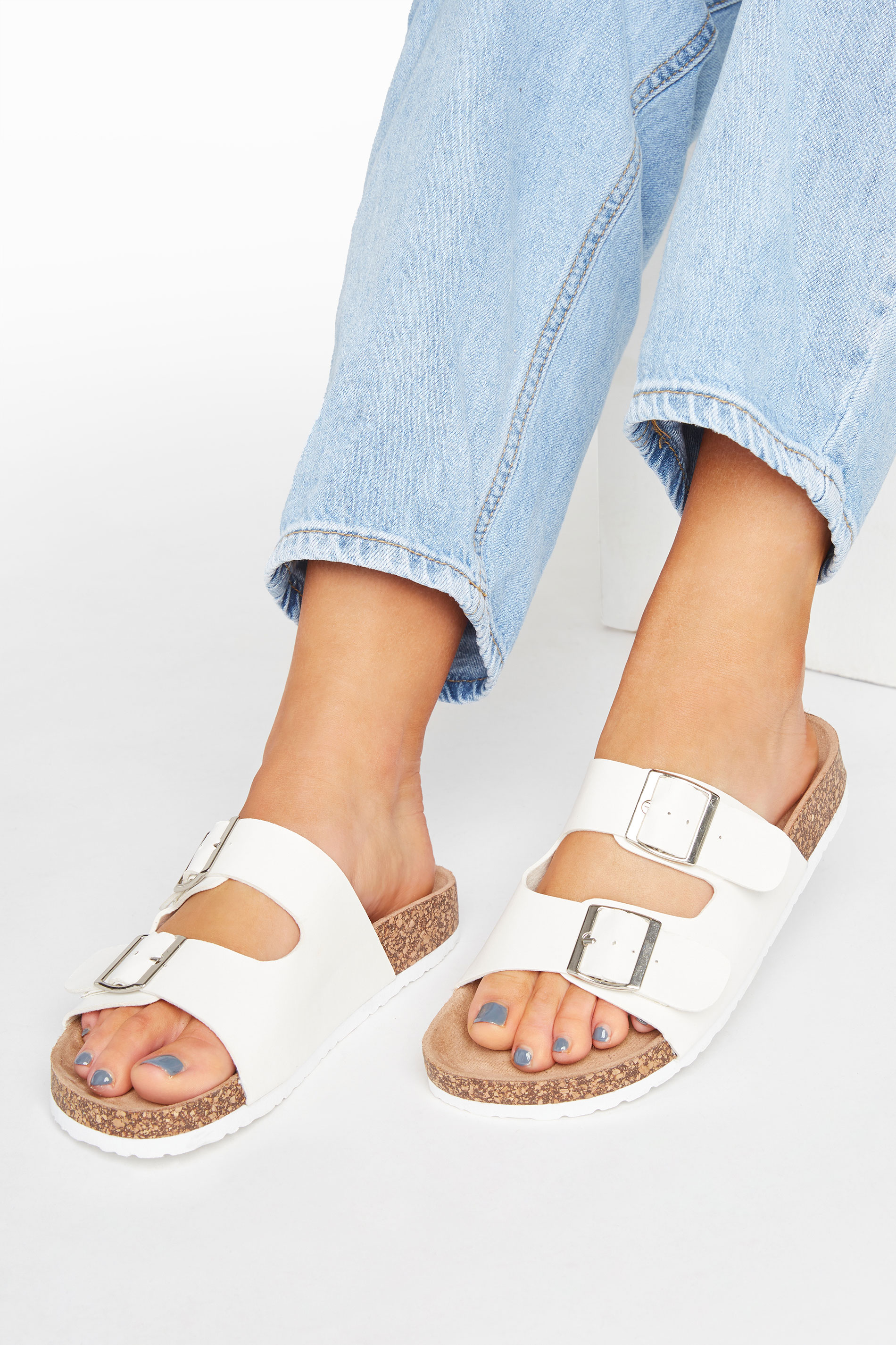 Yours White Buckle Strap Footbed Sandals In Extra Wide Fit