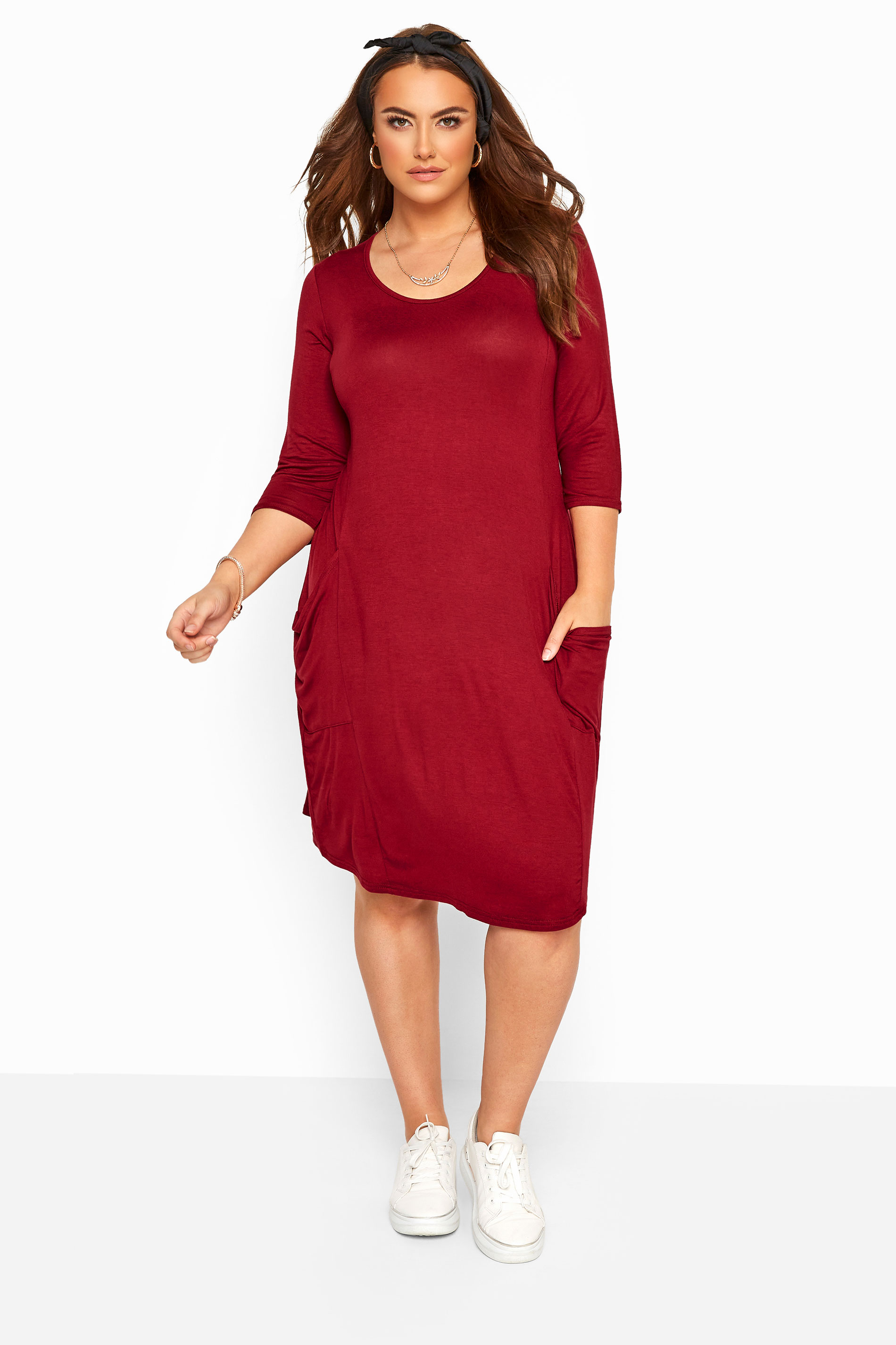 Dark Wine Drape Pocket Dress