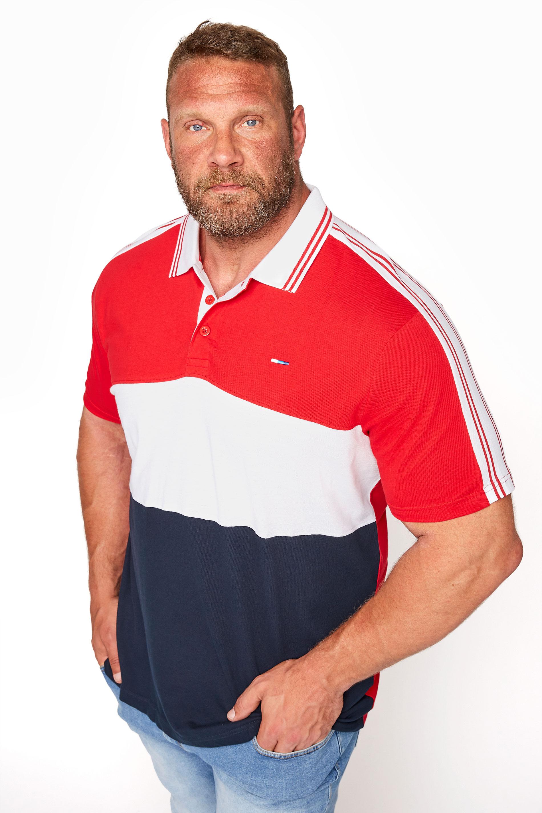 BadRhino Red Colour Block Tape Polo Shirt
