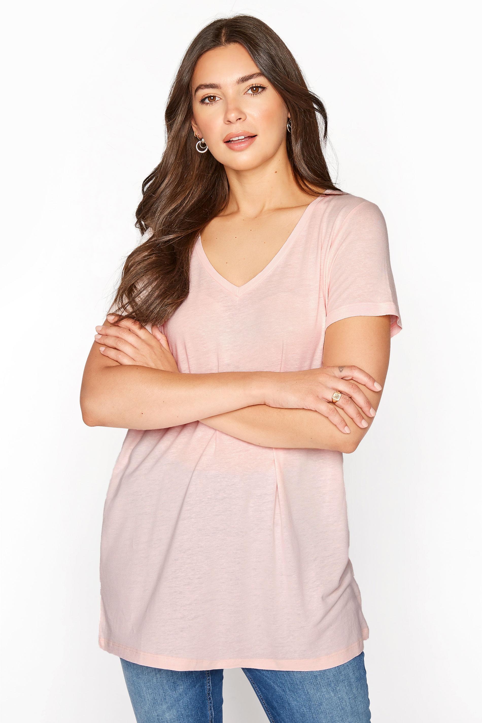 LTS Pink Linen Blend V-Neck T-Shirt_A.jpg