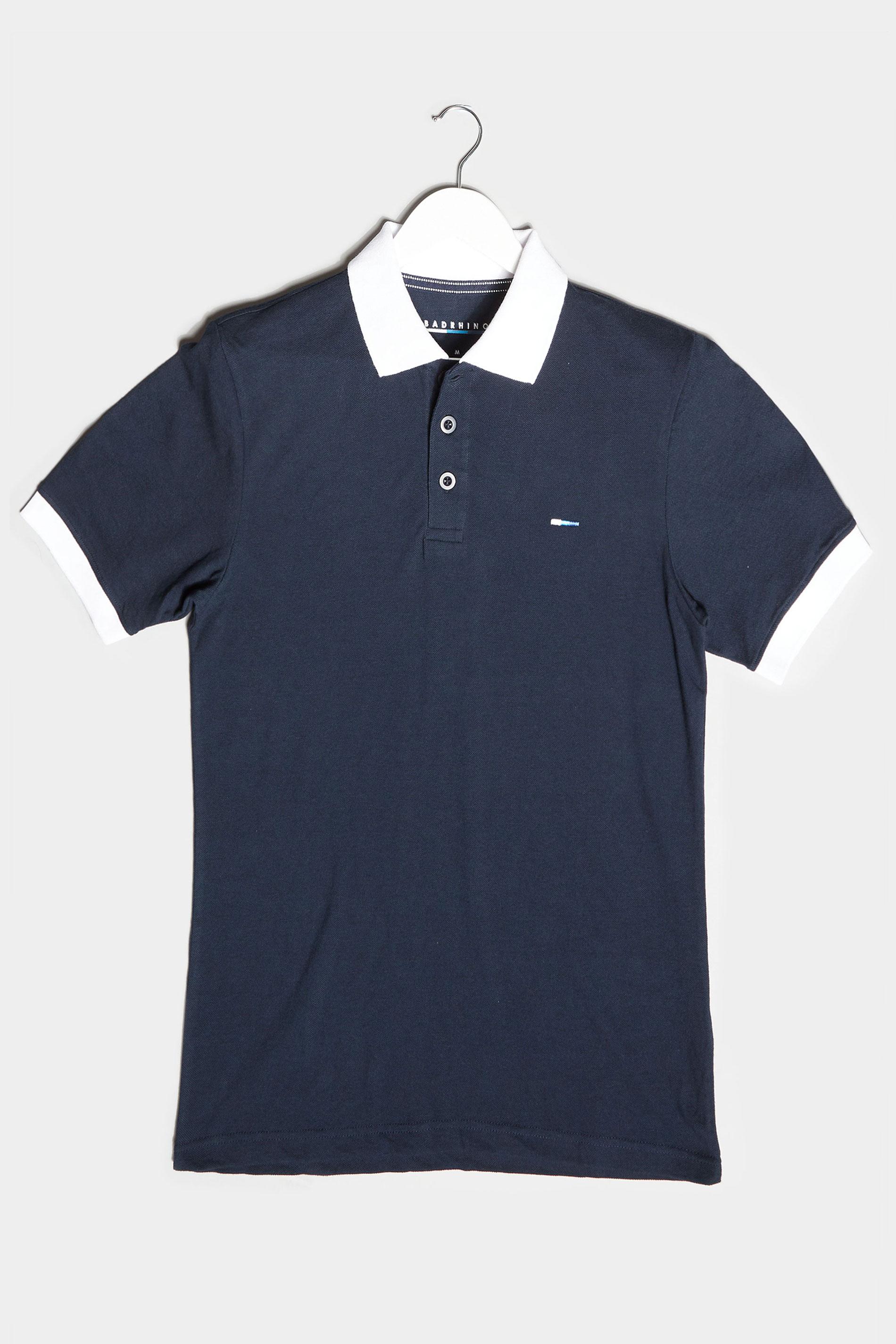 BadRhino Navy & White Contrast Polo Shirt