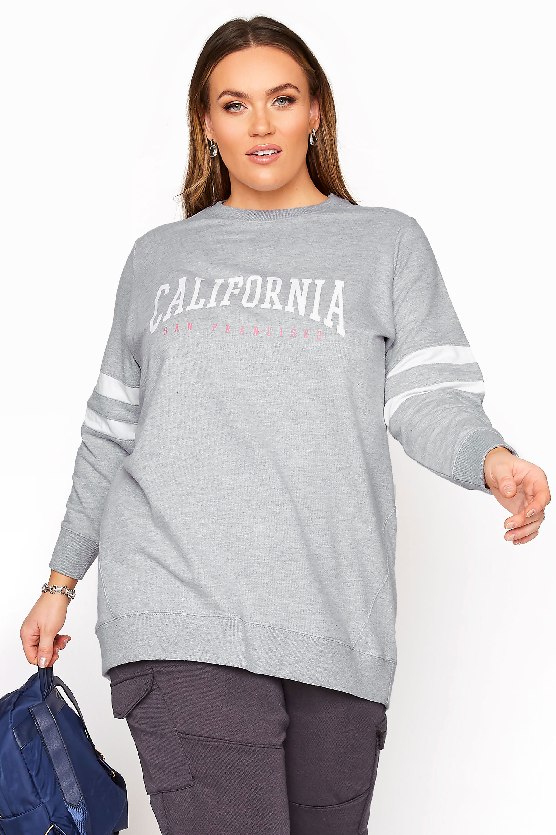 Grey Varsity Stripe California Sweatshirt