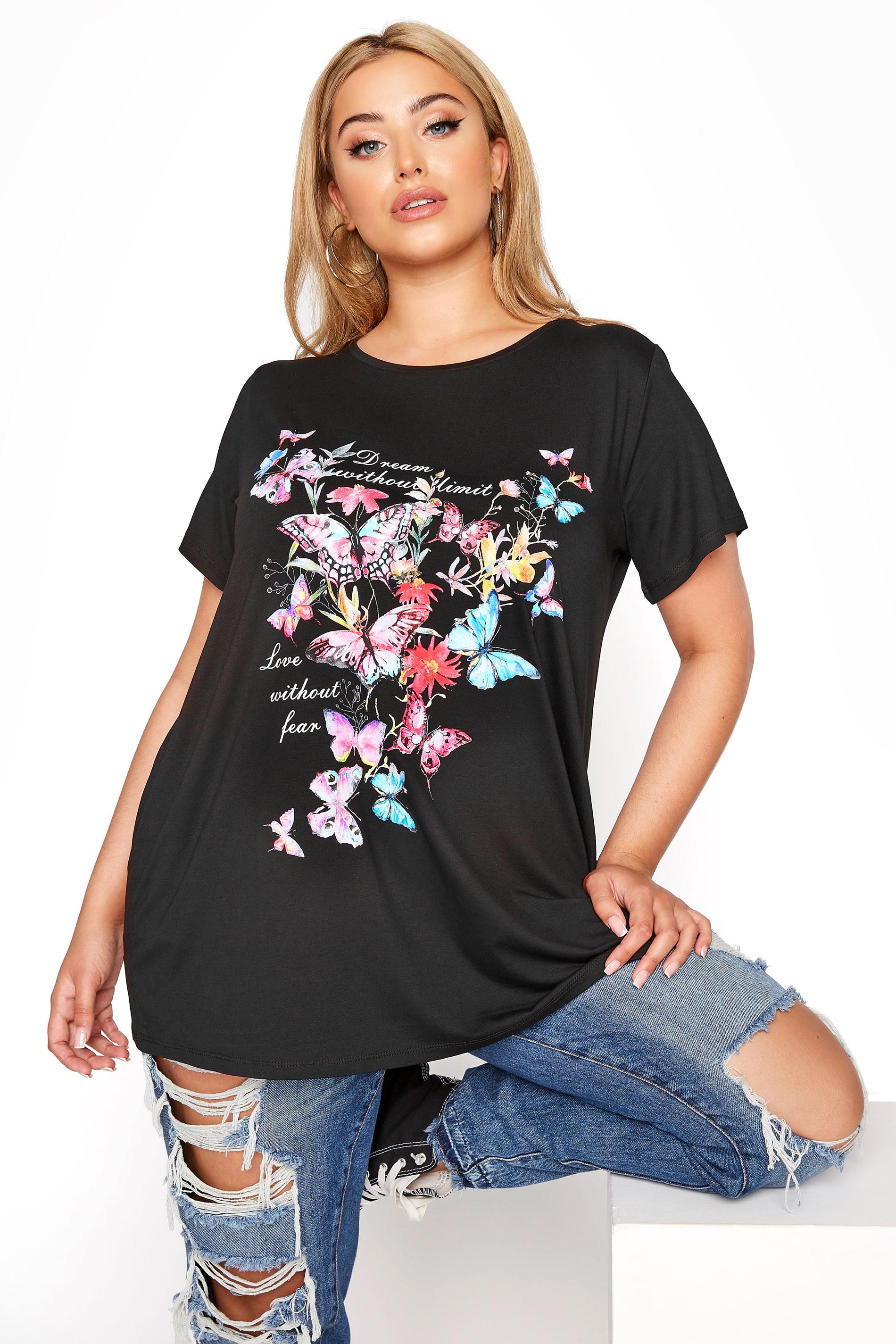Black Butterfly Print T-Shirt