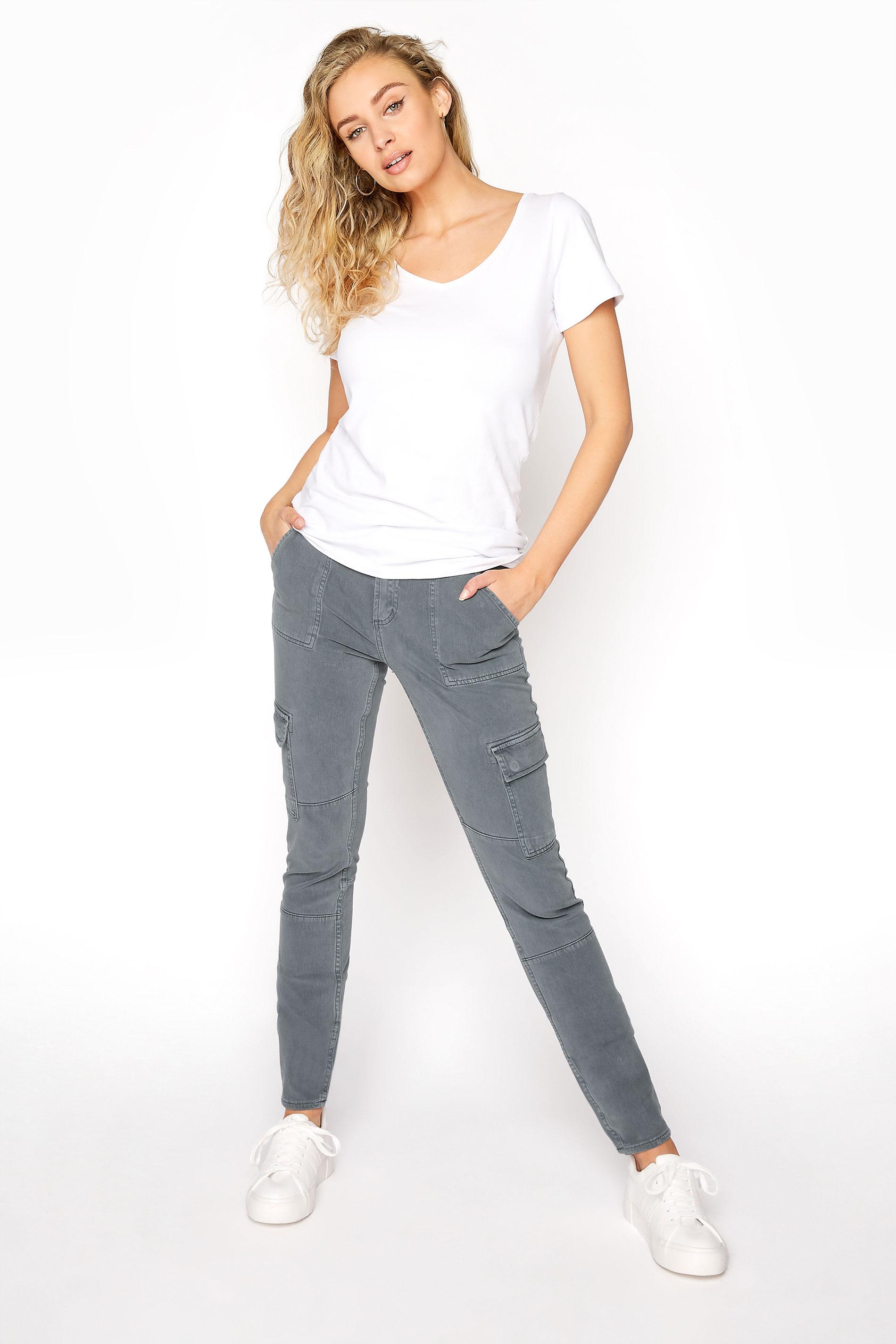 SILVER JEANS Slate Grey Low Rise Skinny Cargo Jeans