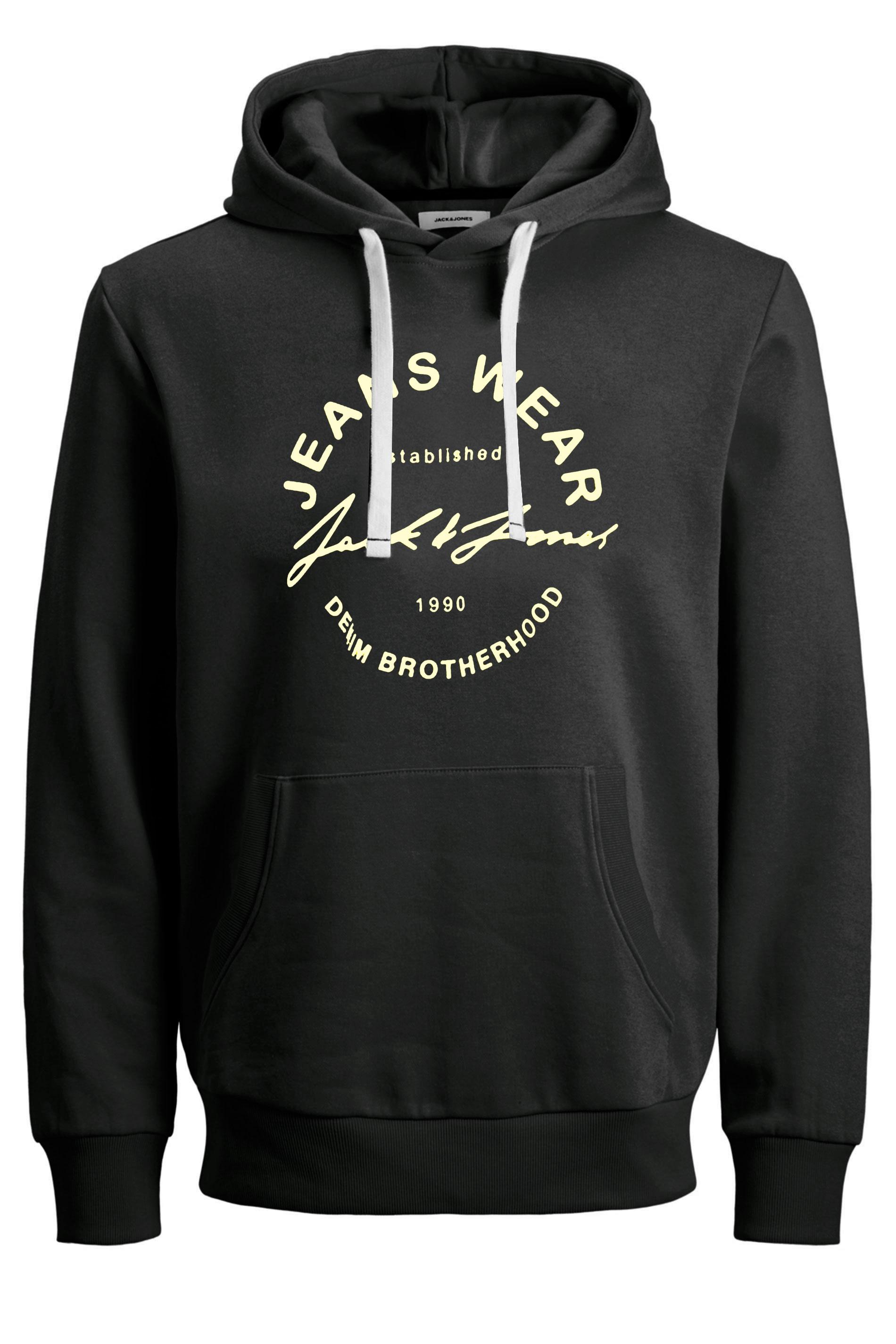 JACK & JONES Black Hero Logo Print Hoodie_F.jpg