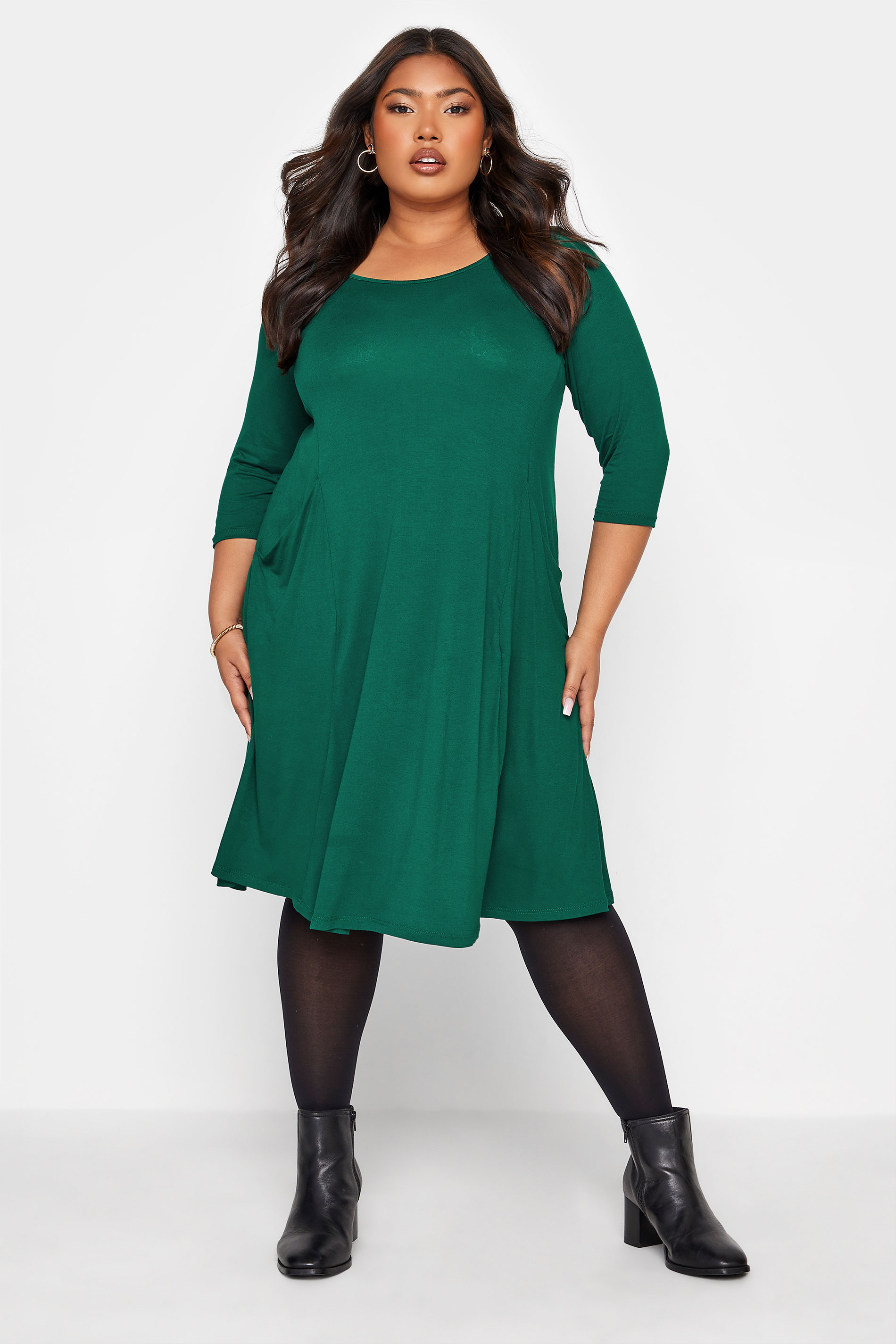 Forest Green Drape Pocket Dress_A.jpg