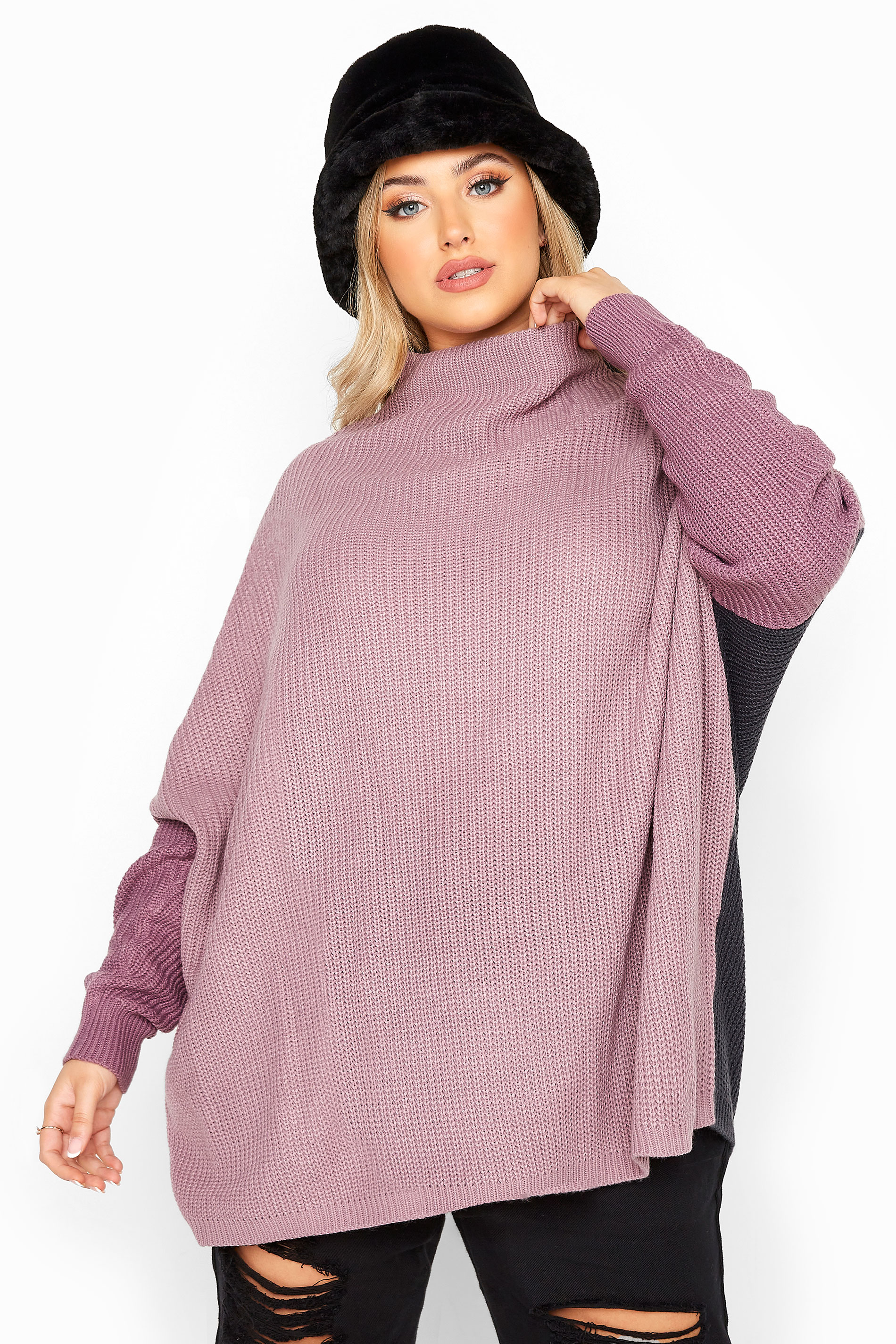 Purple Colour Block Oversized Knitted Jumper