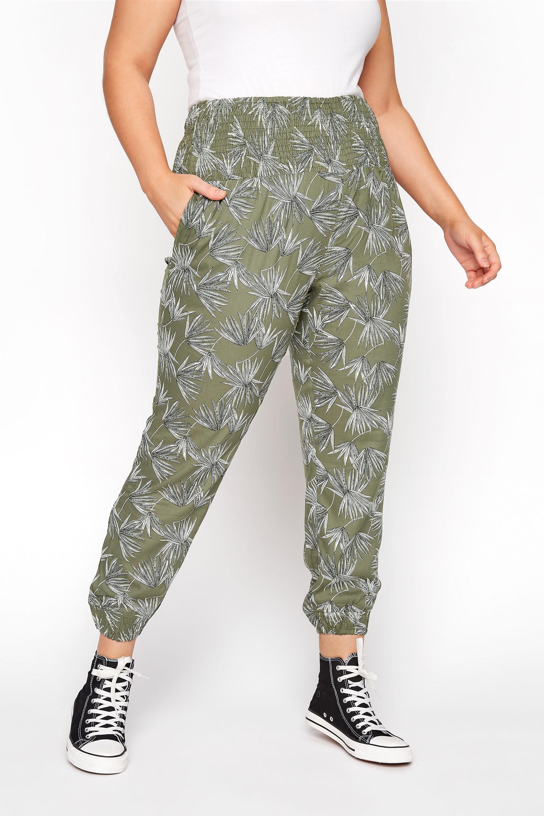 Khaki Floral Harem Trousers_B.jpg