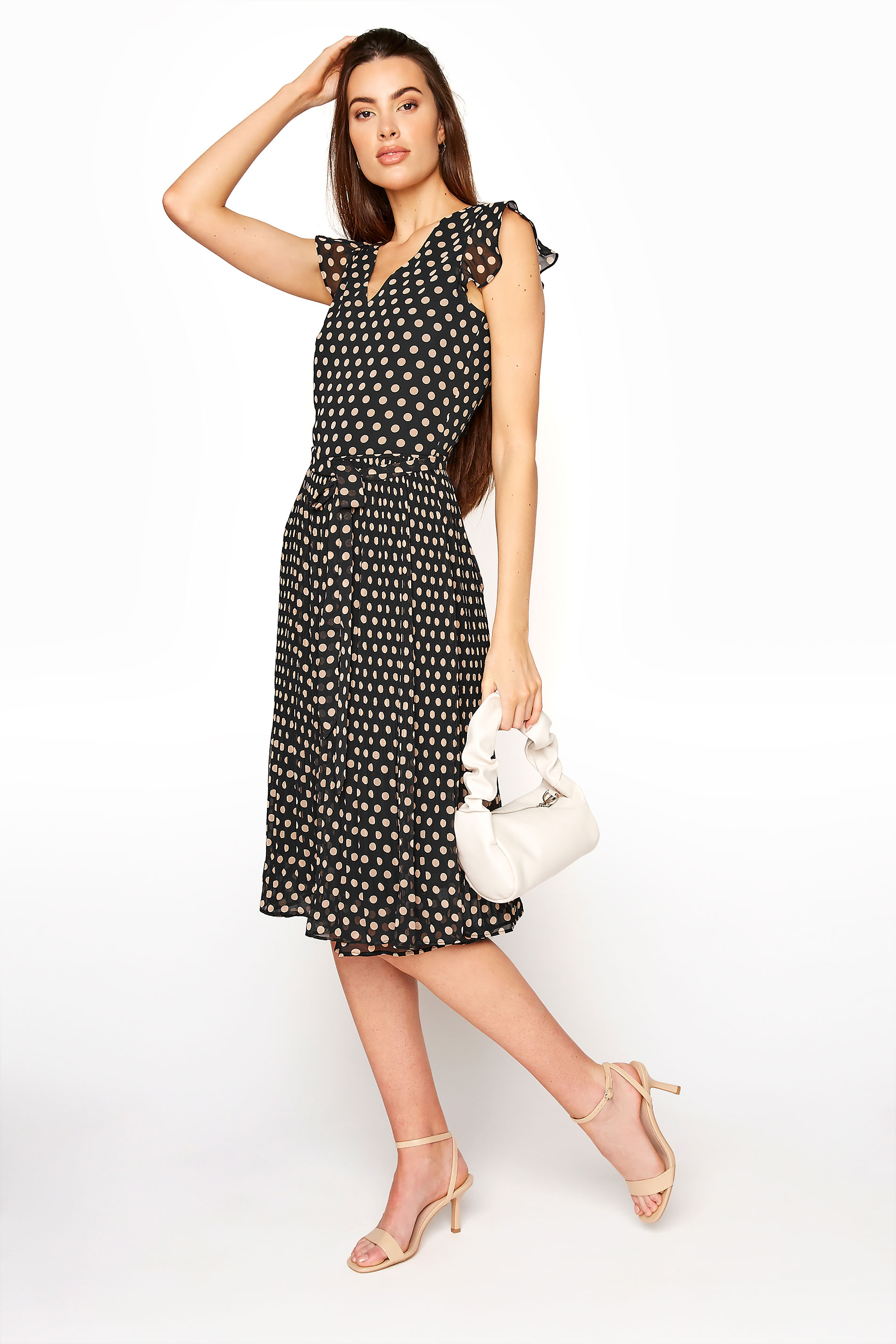LTS Black Polka Dot Chiffon Dress