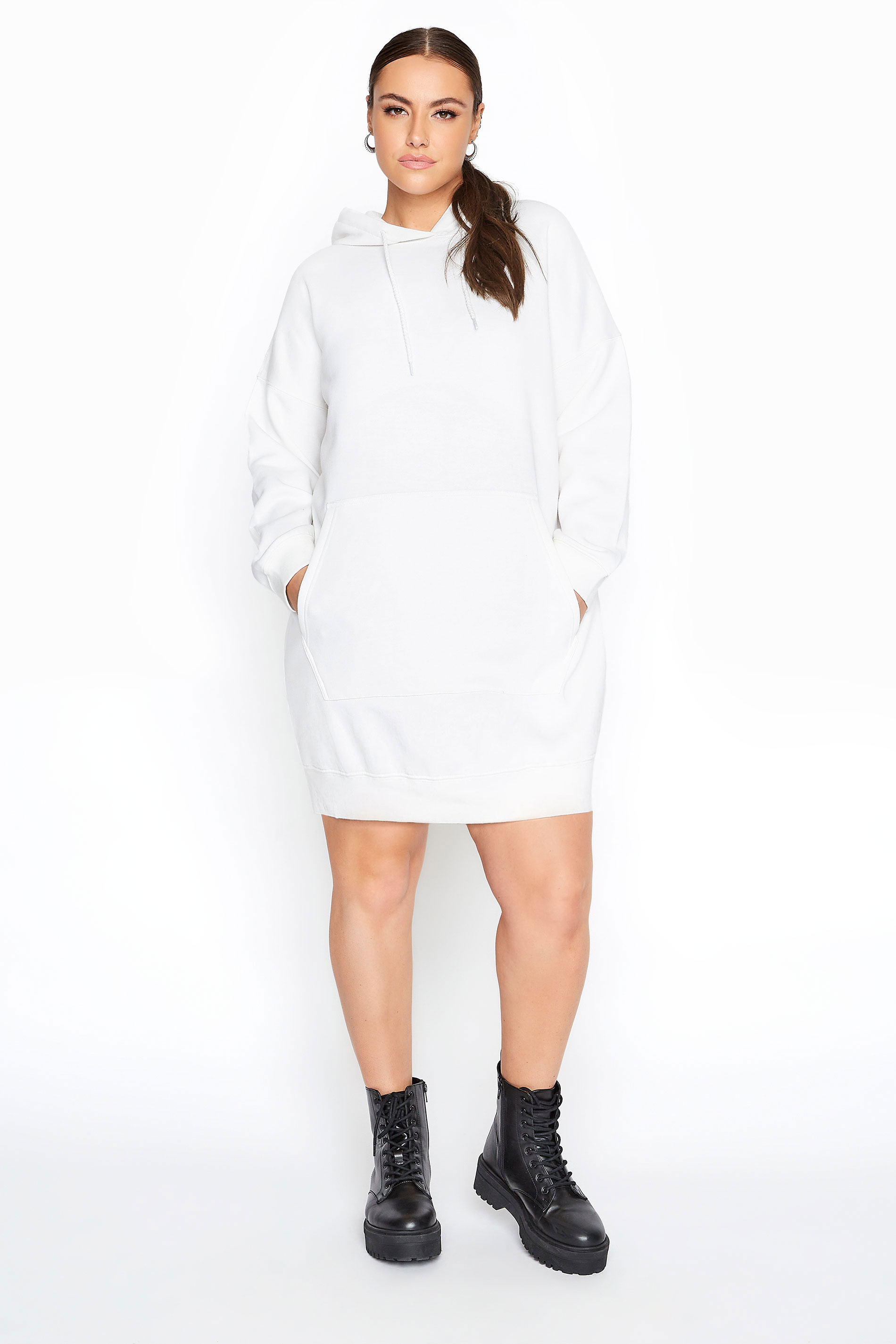 LIMITED COLLECTION Ecru Cotton Jersey Longline Hoodie
