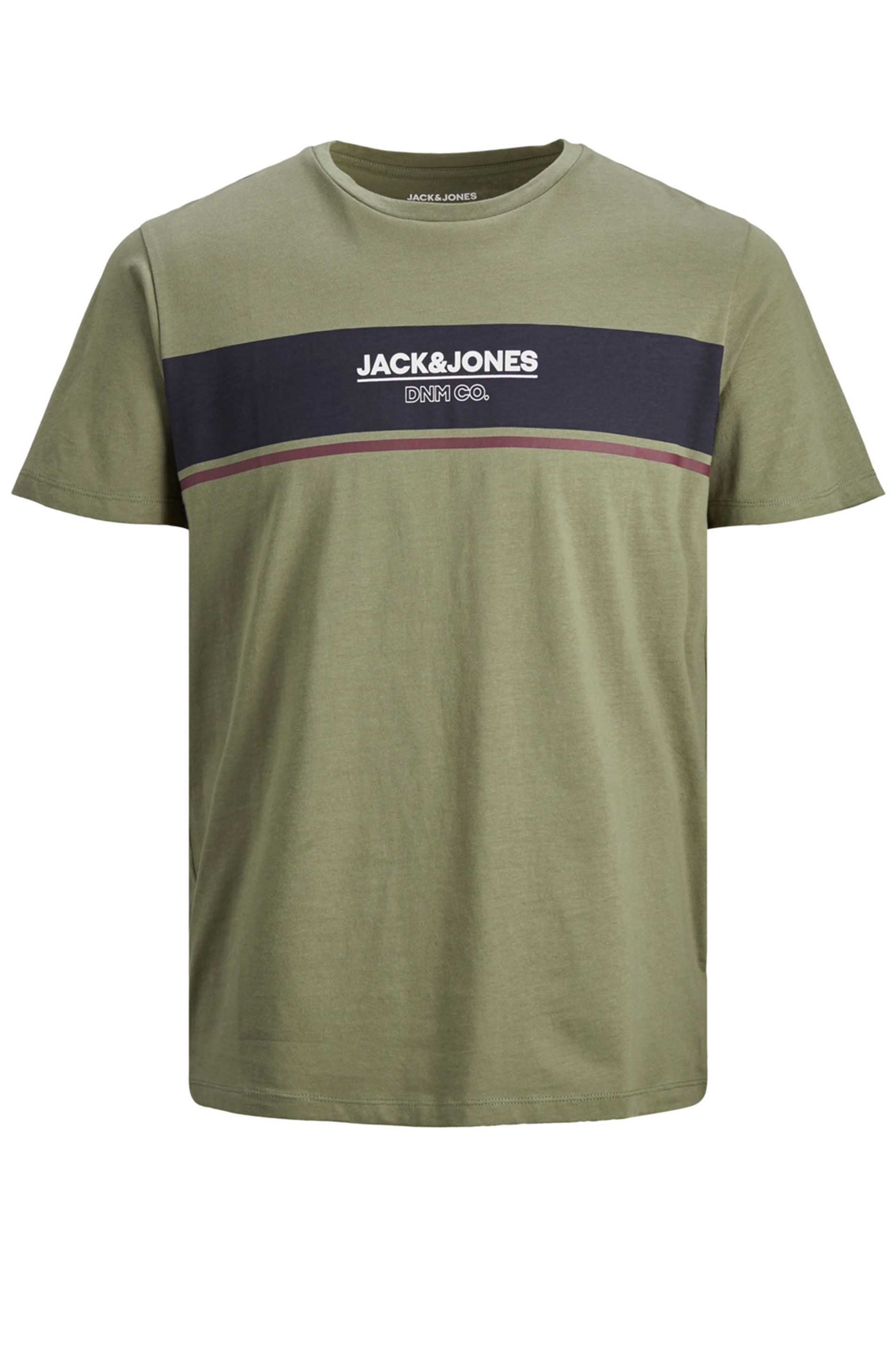 JACK & JONES Green Logo Stripe T-Shirt