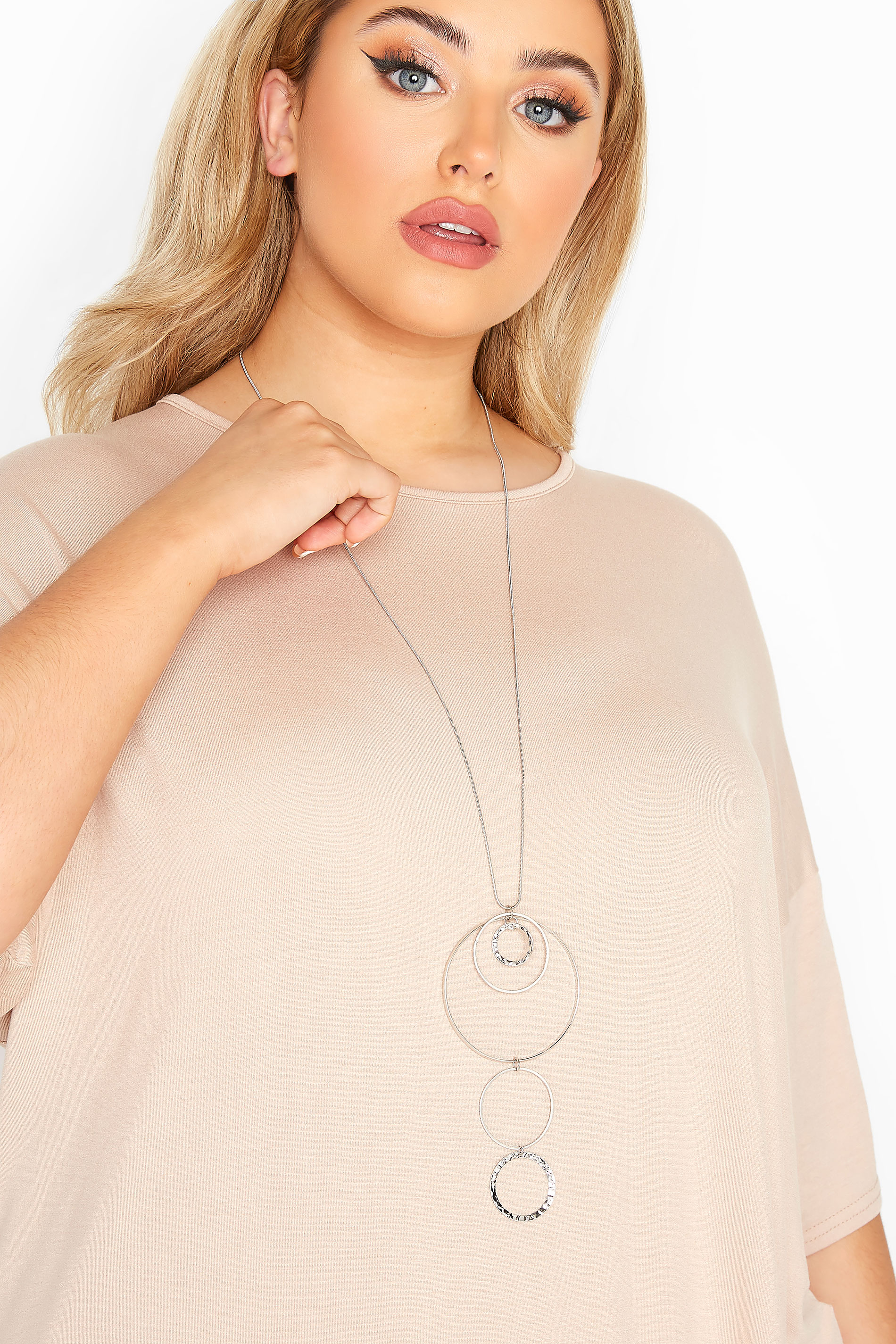 Yours Silver Long Hoop Necklace