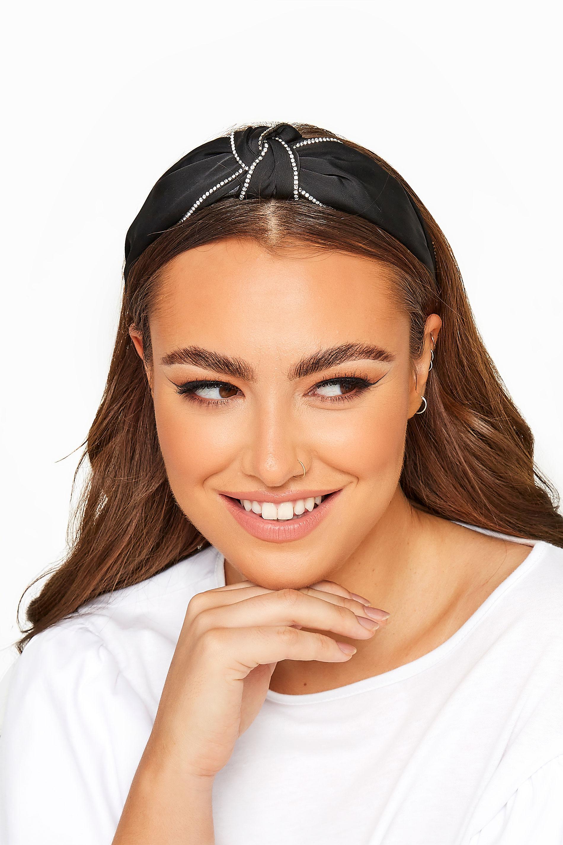 Black Diamante Detail Knot Headband