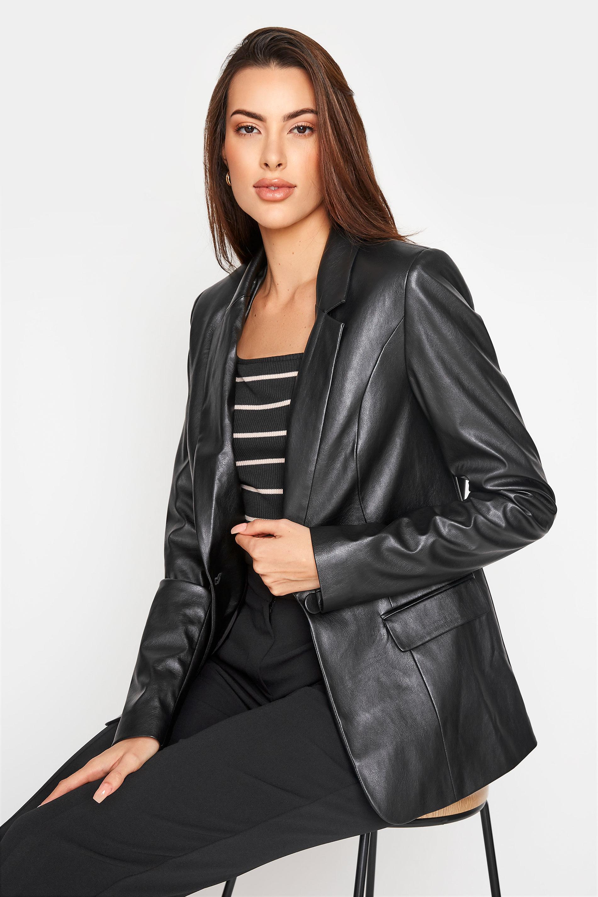 LTS Black Faux Leather Blazer_A.jpg