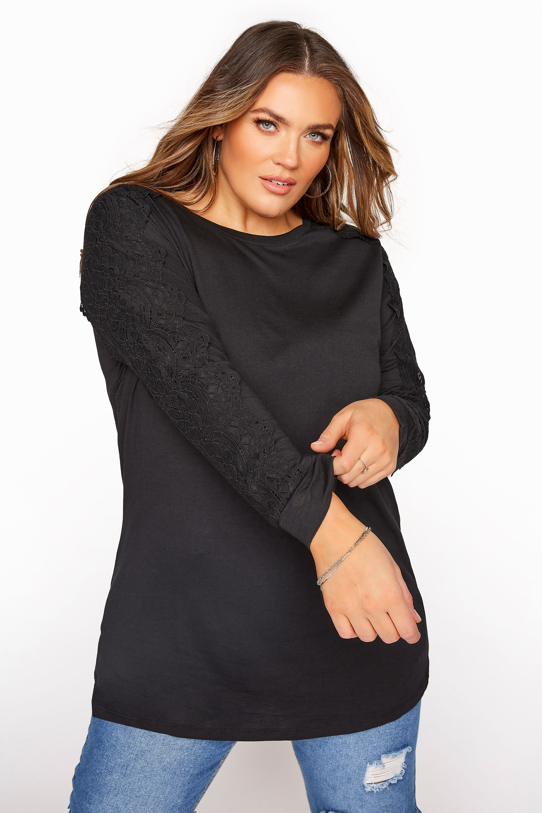 Black Lace Overarm Top