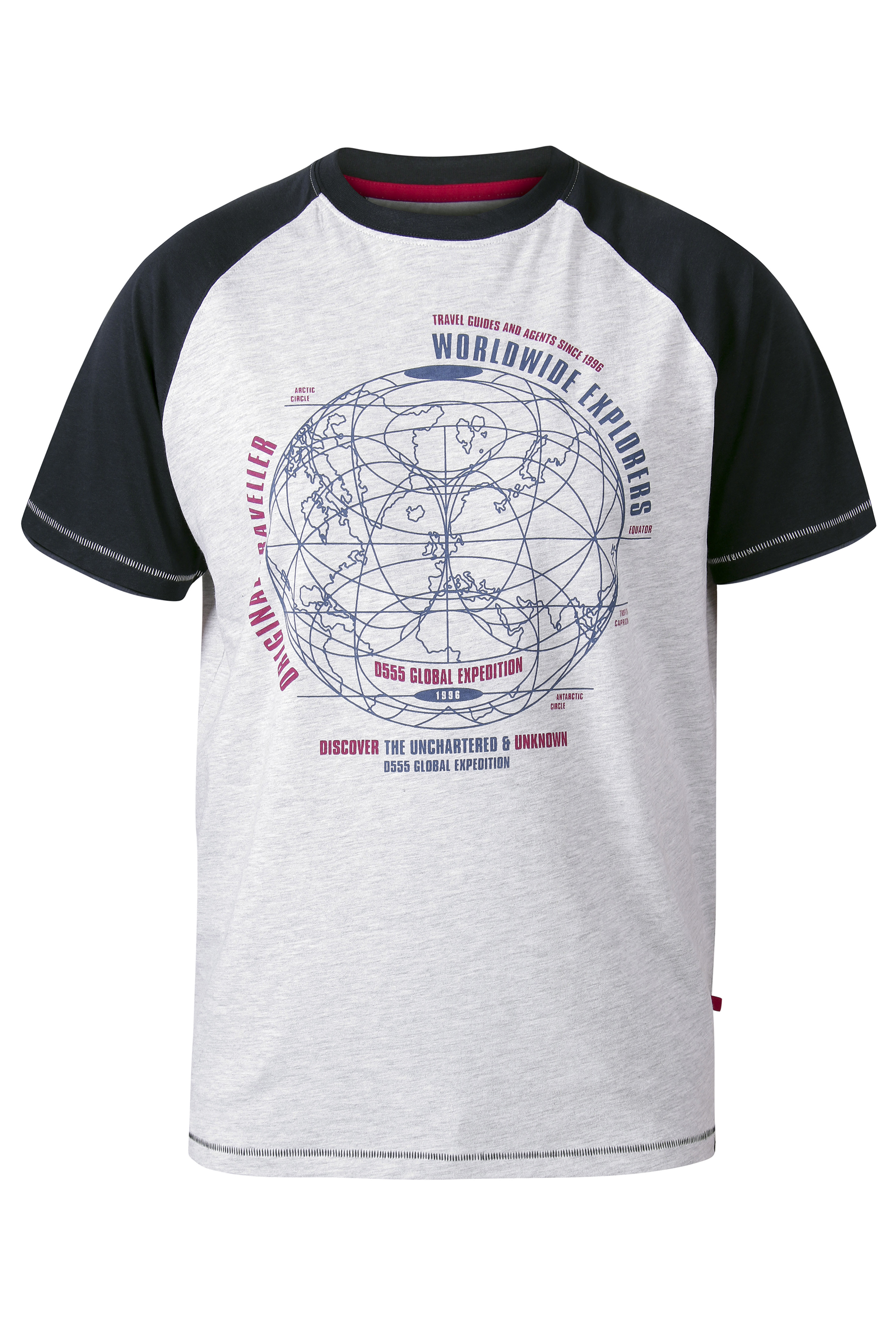D555 White Worldwide Explorers Raglan Sleeve Printed T-Shirt_f.jpg
