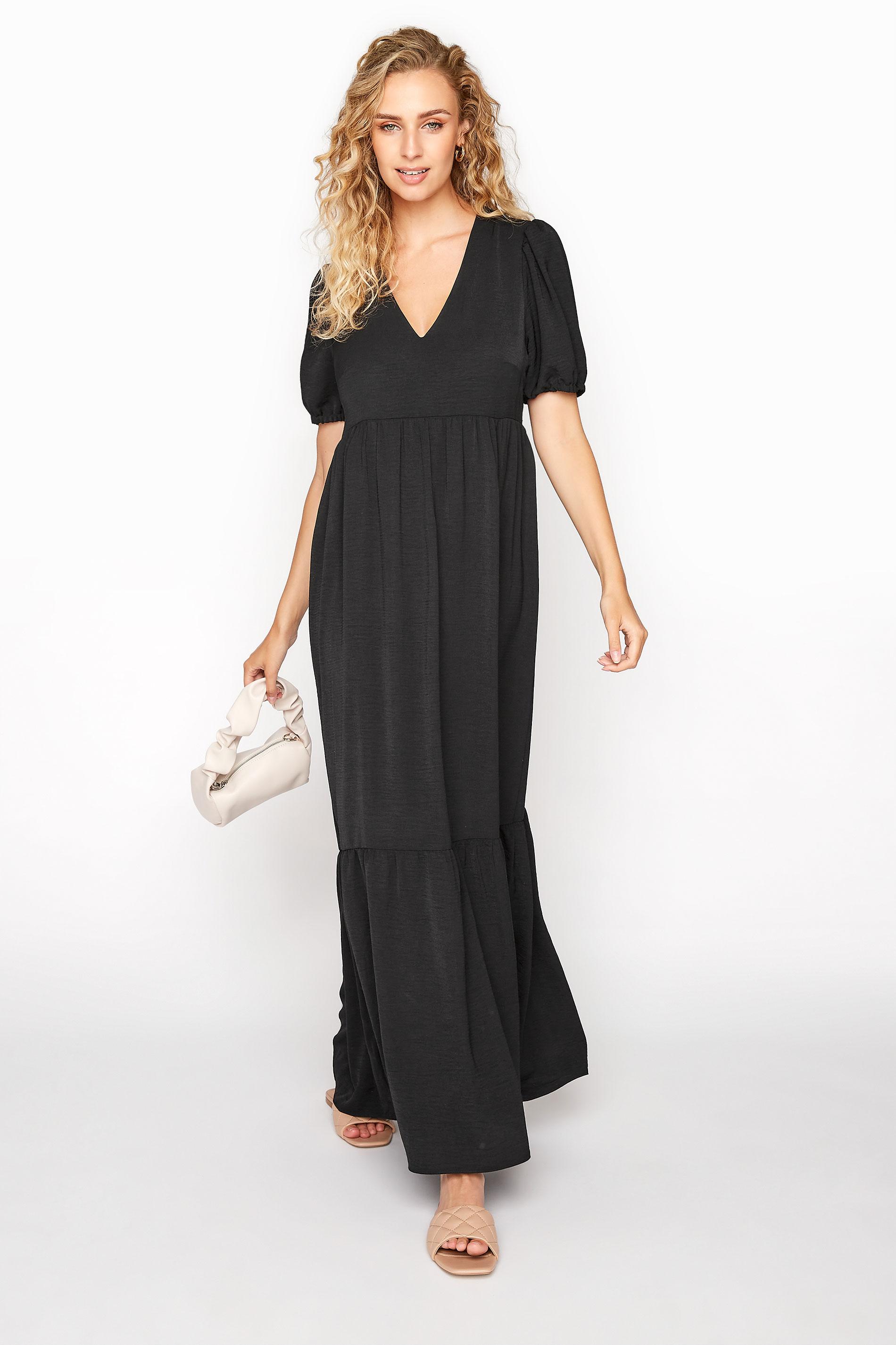 LTS Black Twill Tiered Midaxi Dress