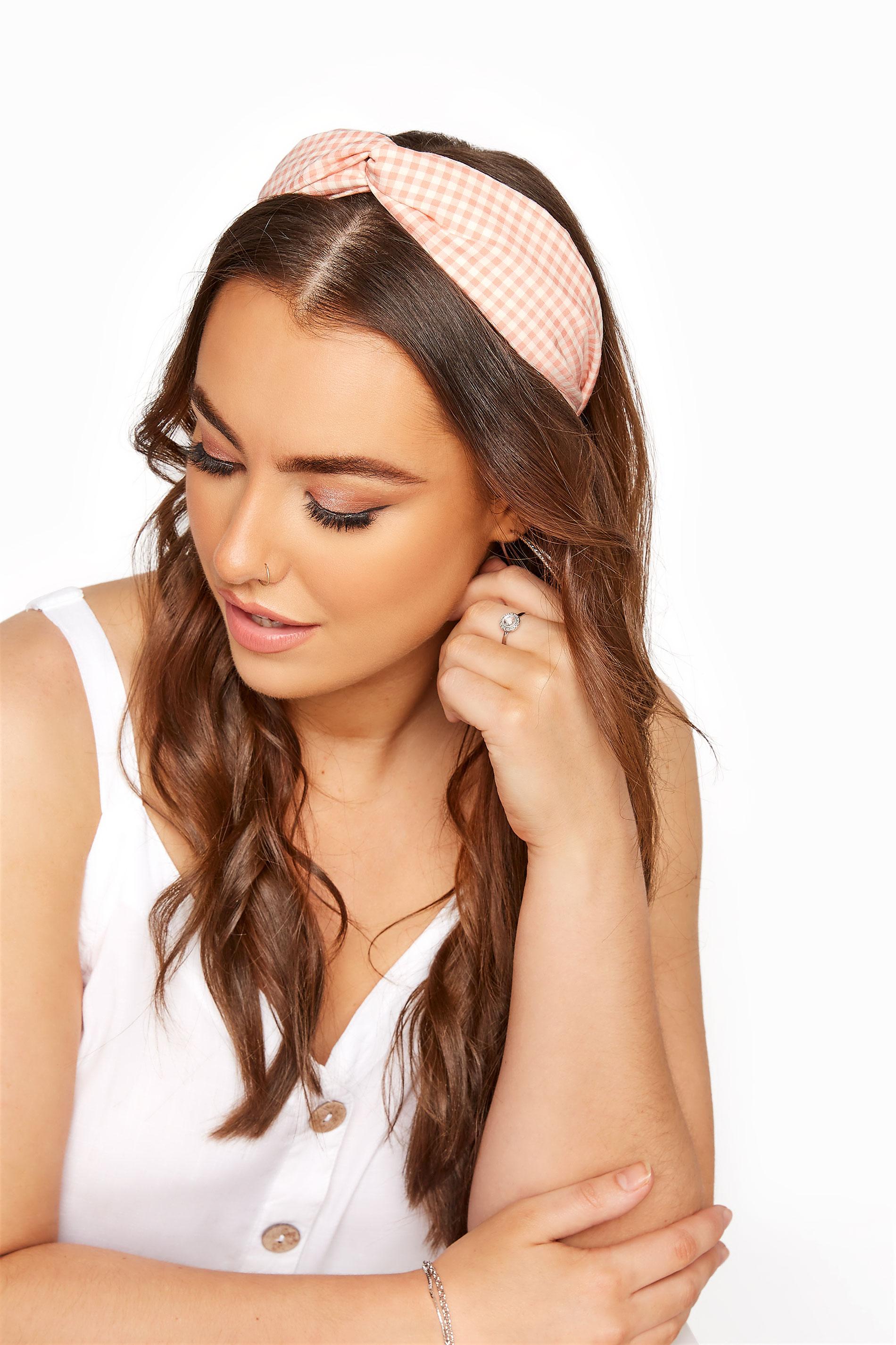 Pink Gingham Twist Headband_M.jpg