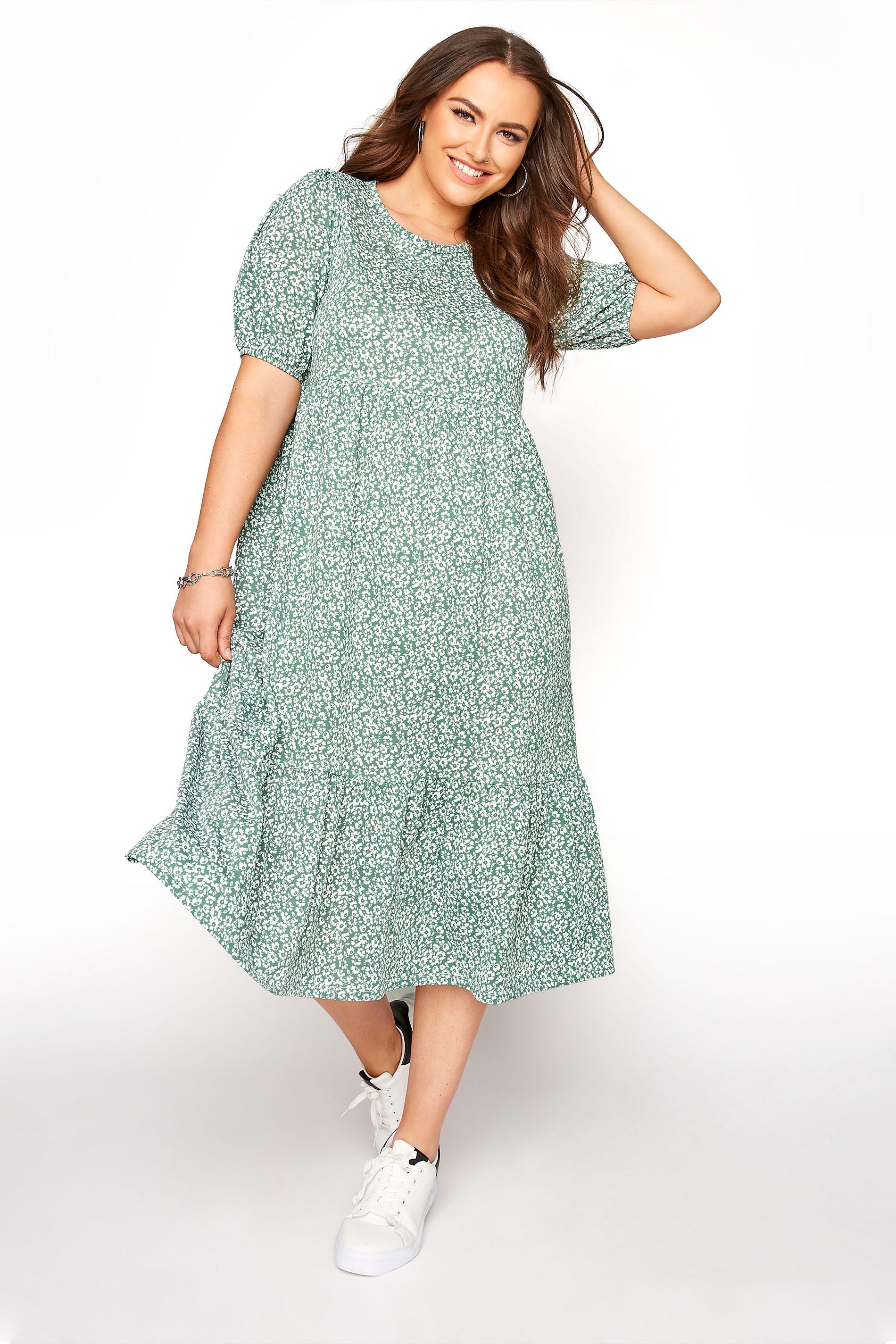 Sage Green Floral Frill Hem Midi Dress_A.jpg