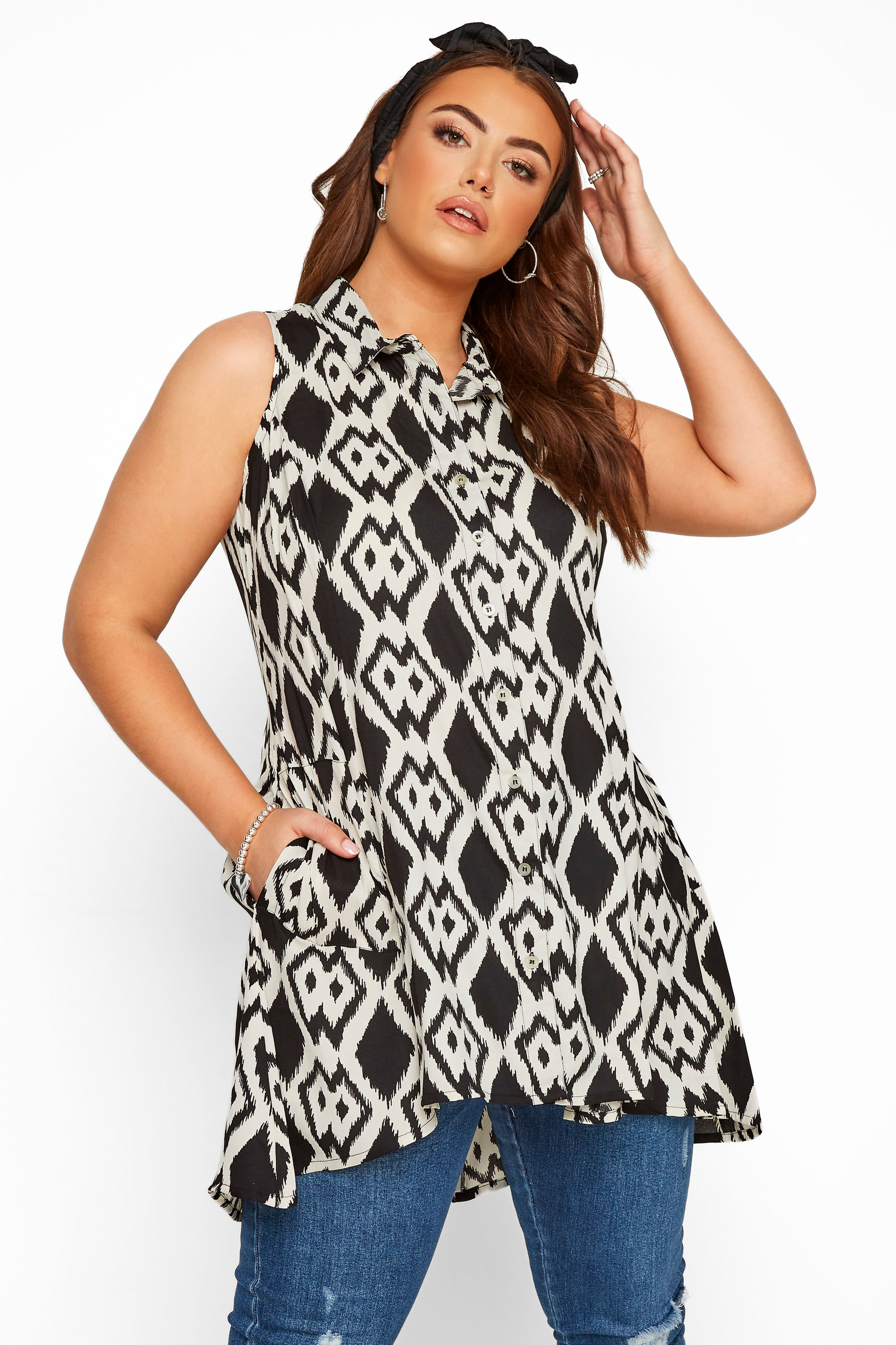 Black & White Ikat Print Sleeveless Chiffon Shirt