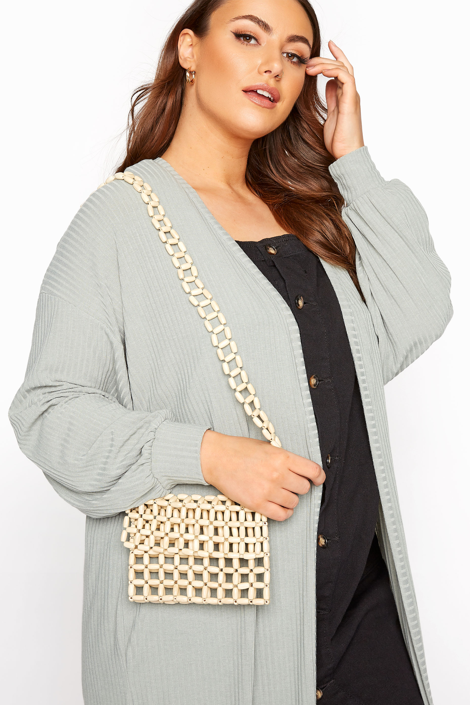 Yours Natural Beaded Crossbody Bag