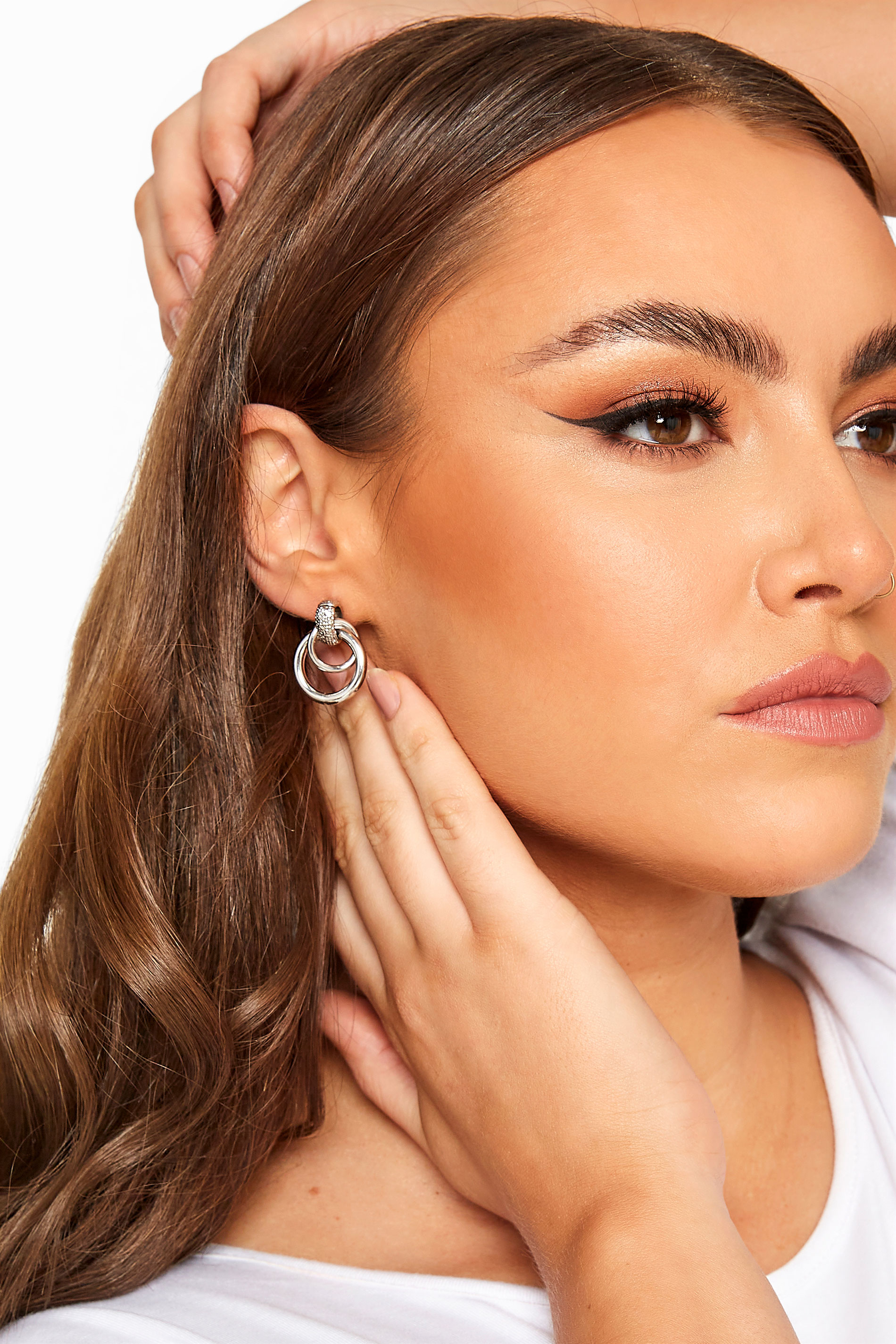Silver Double Hoop Earrings