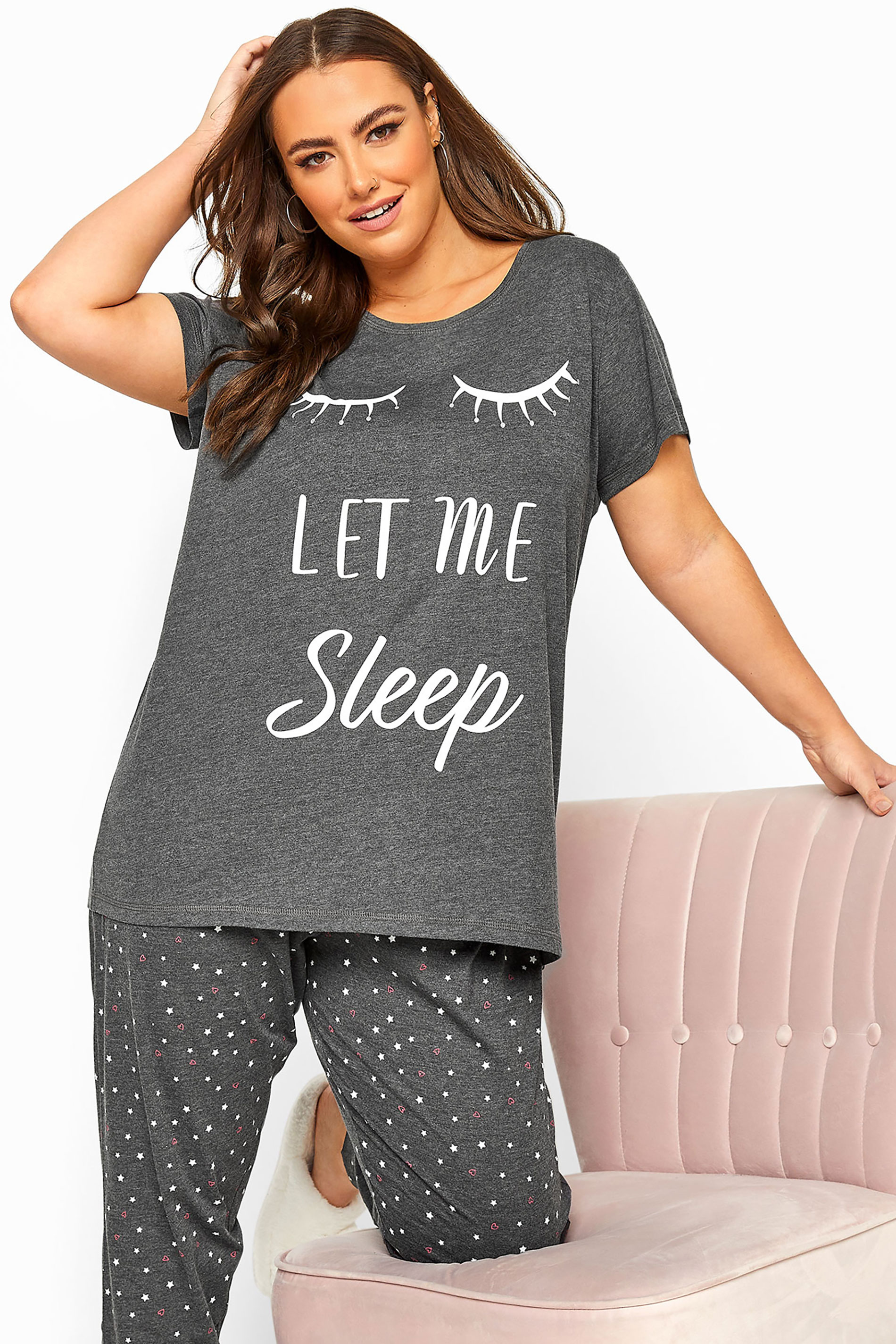 Grey 'Let Me Sleep' Slogan Pyjama Top