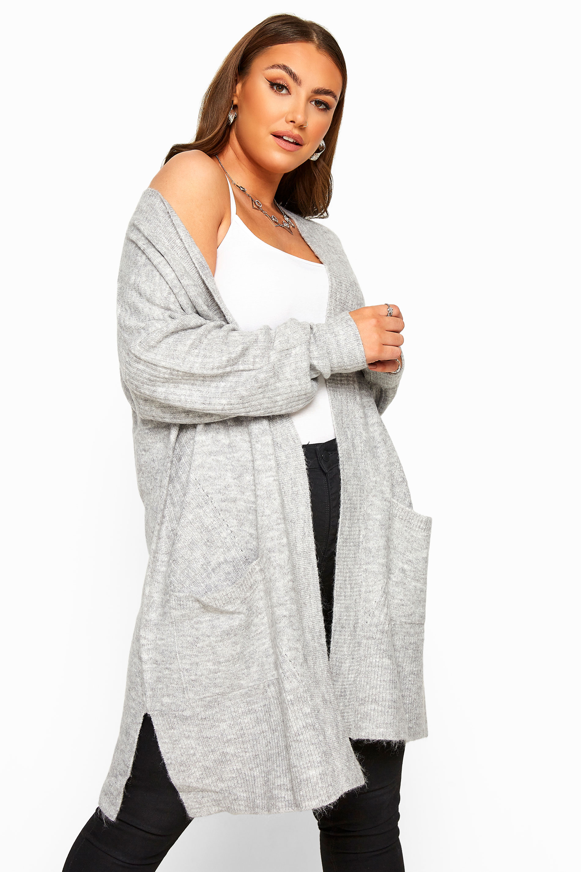 Grey Marl Longline Knitted Cardigan