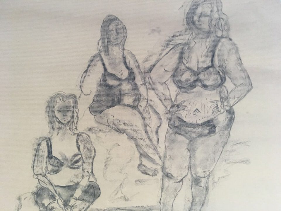 Nottingham College life drawing of plus-size bloggers Yours Clothing