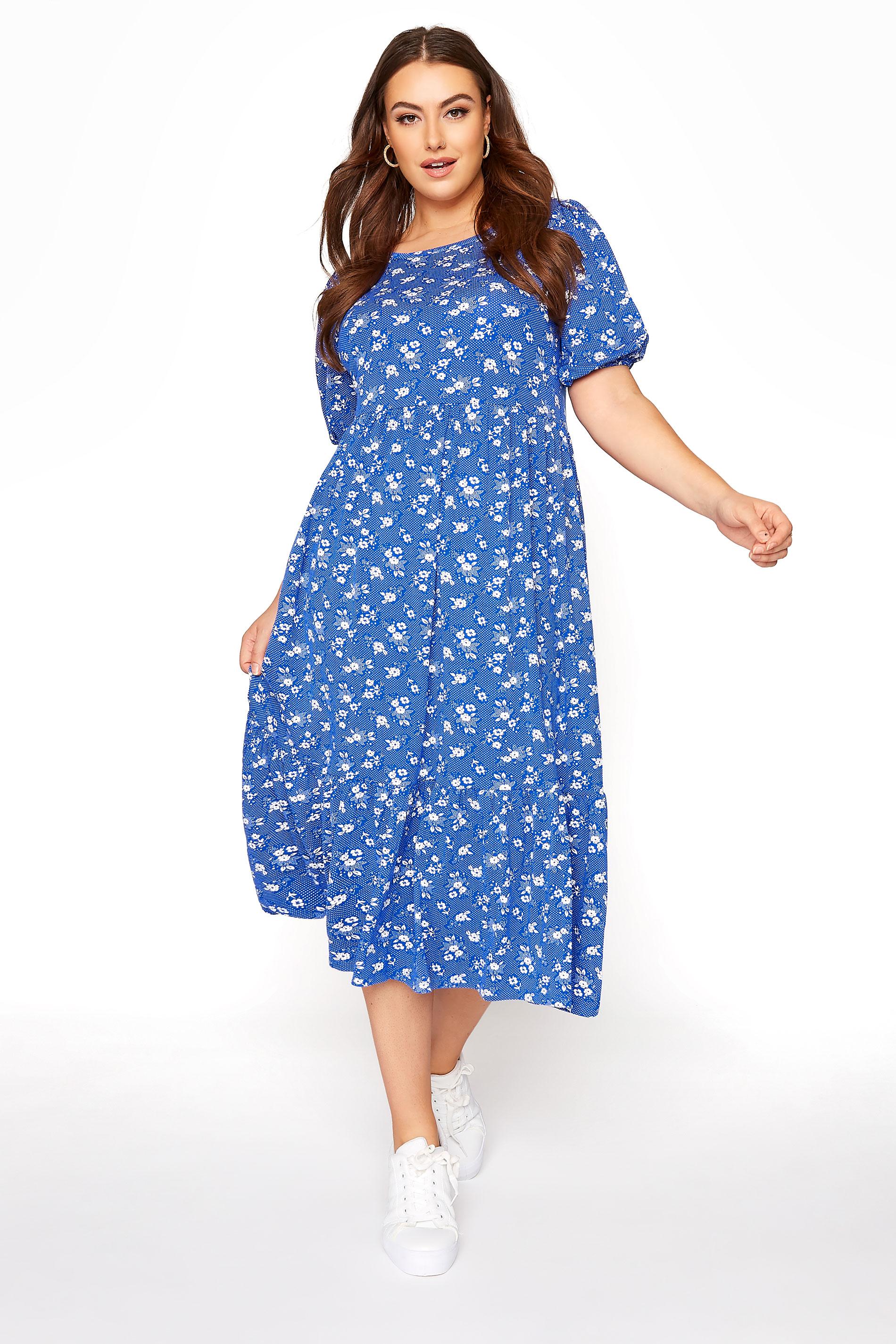 Blue Floral Puff Sleeve Midaxi Dress_A.jpg