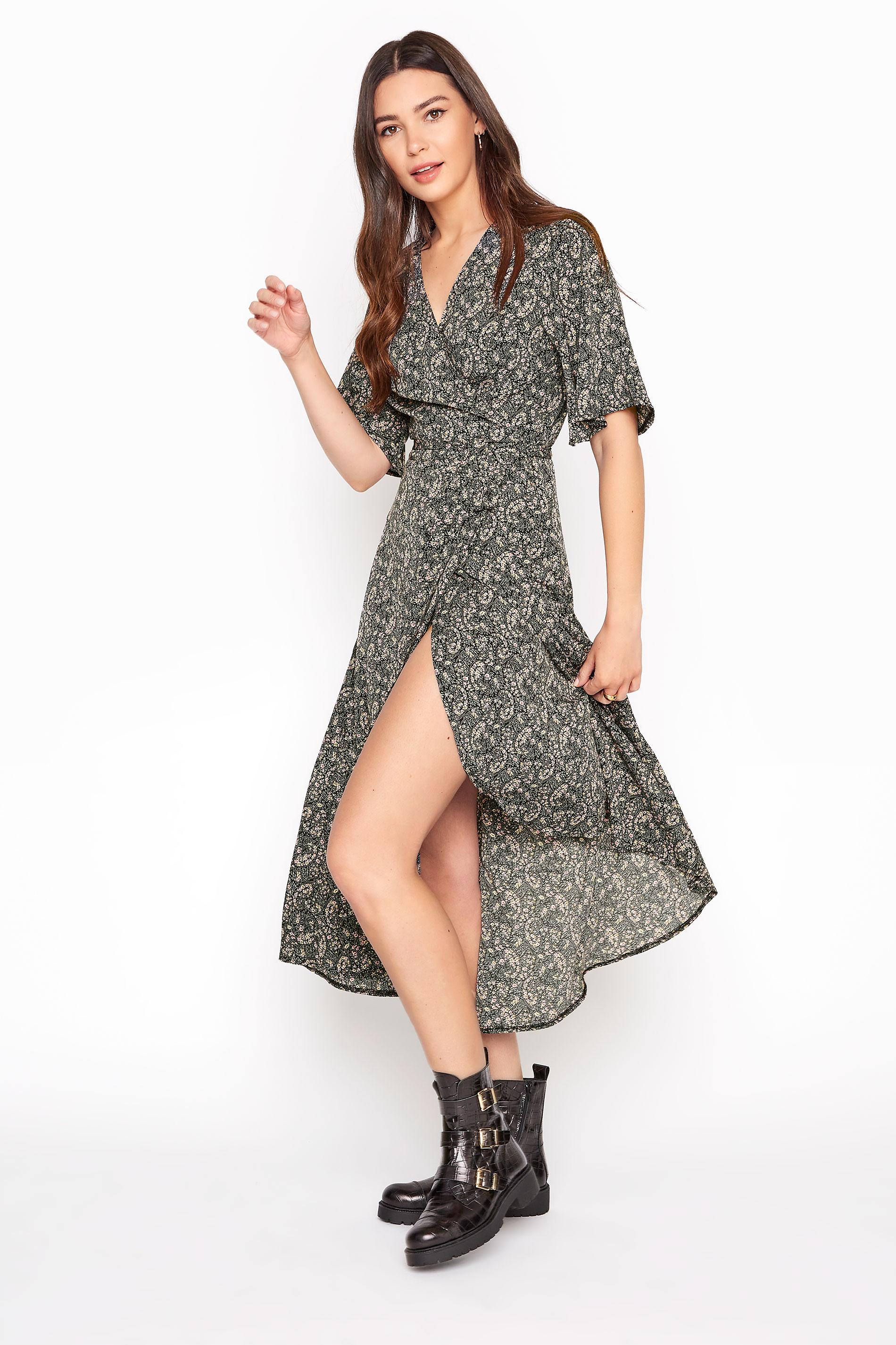 LTS Multi Paisley Midi Wrap Dress