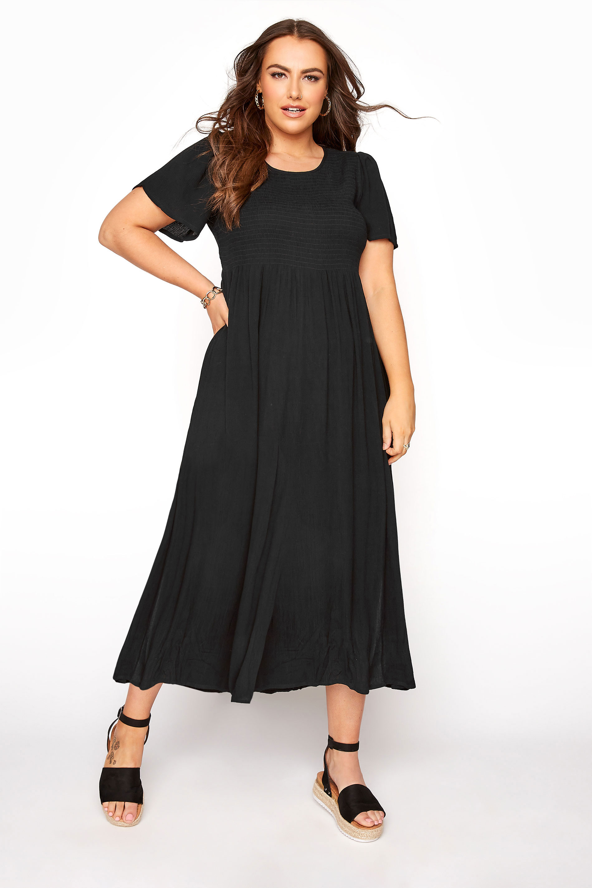 LIMITED COLLECTION Black Shirred Crinkle Maxi Dress