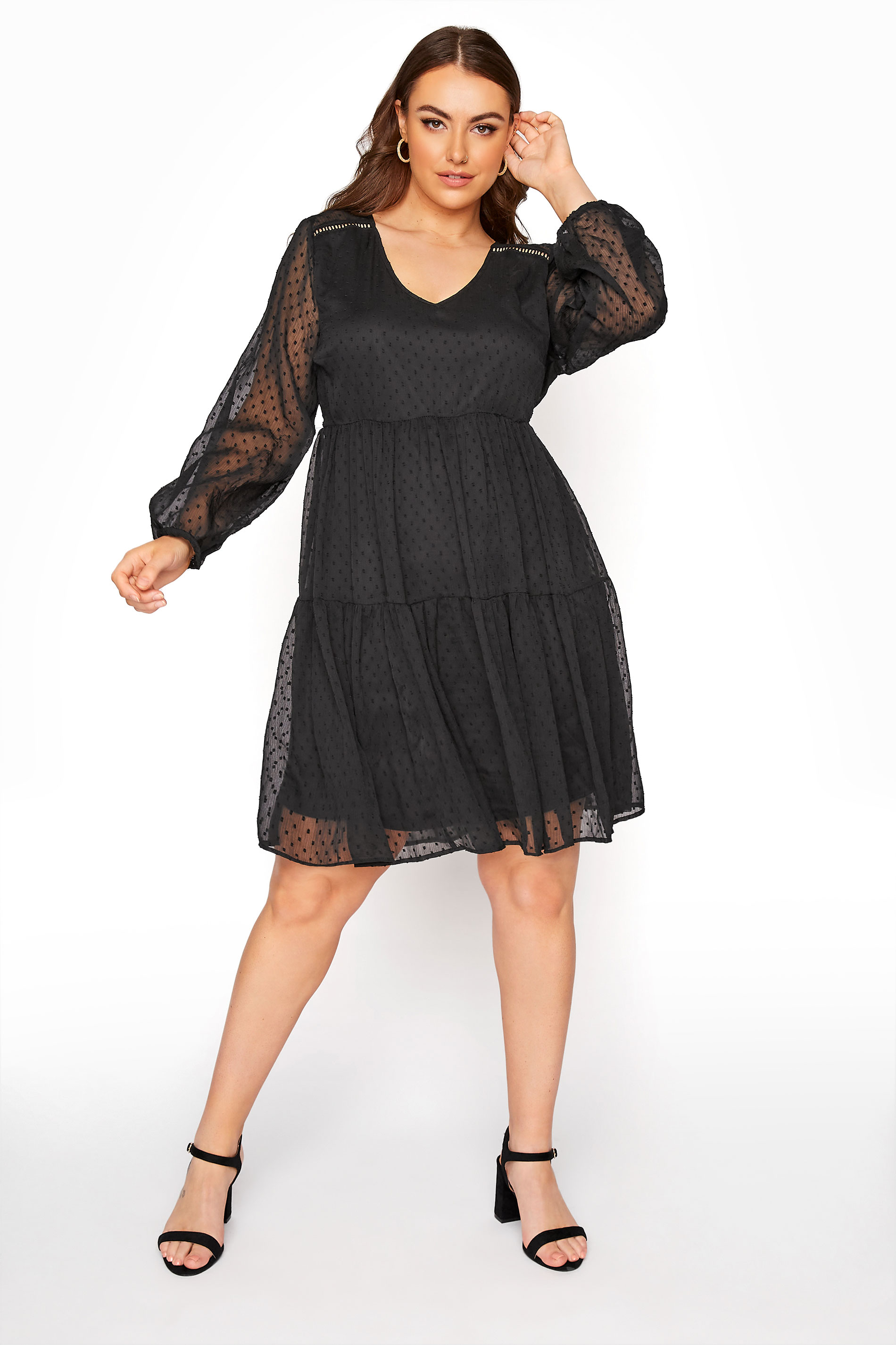 LIMITED COLLECTION Black Dobby Mesh Tiered Dress