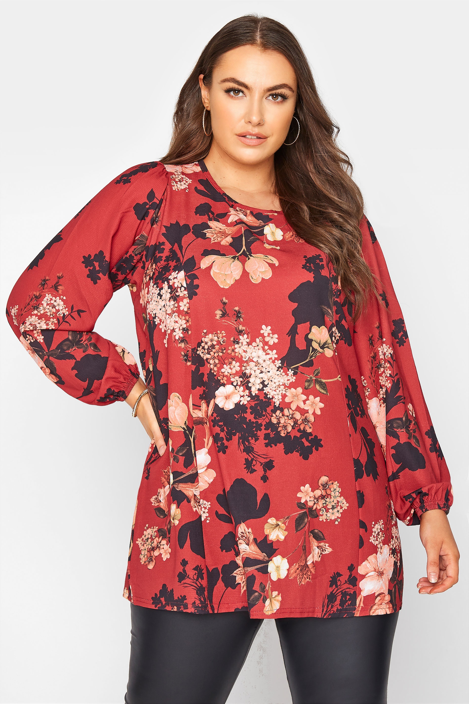 YOURS LONDON Red Floral Balloon Sleeve Blouse_A.jpg