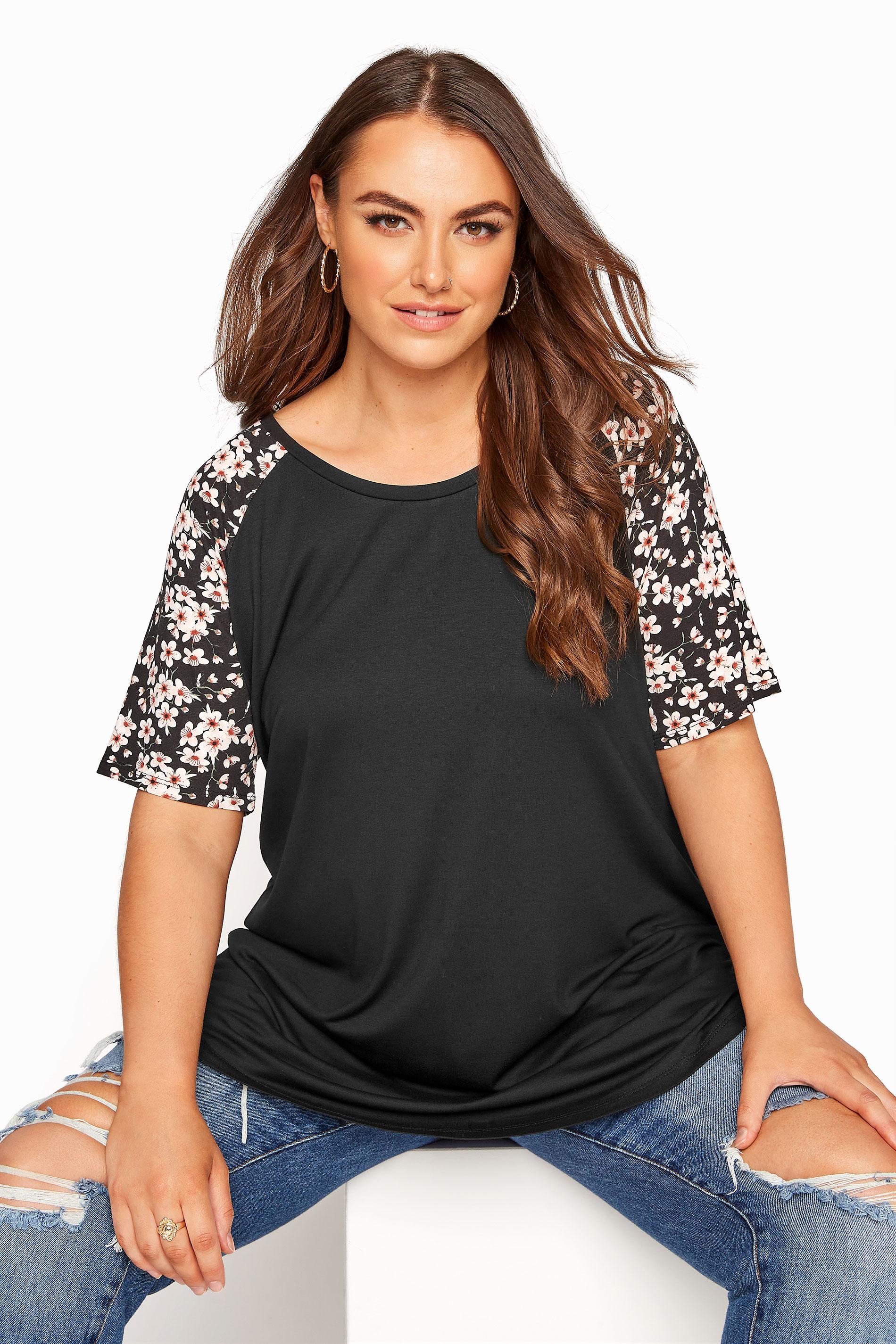 Black Raglan Floral Sleeve T-Shirt_A.jpg