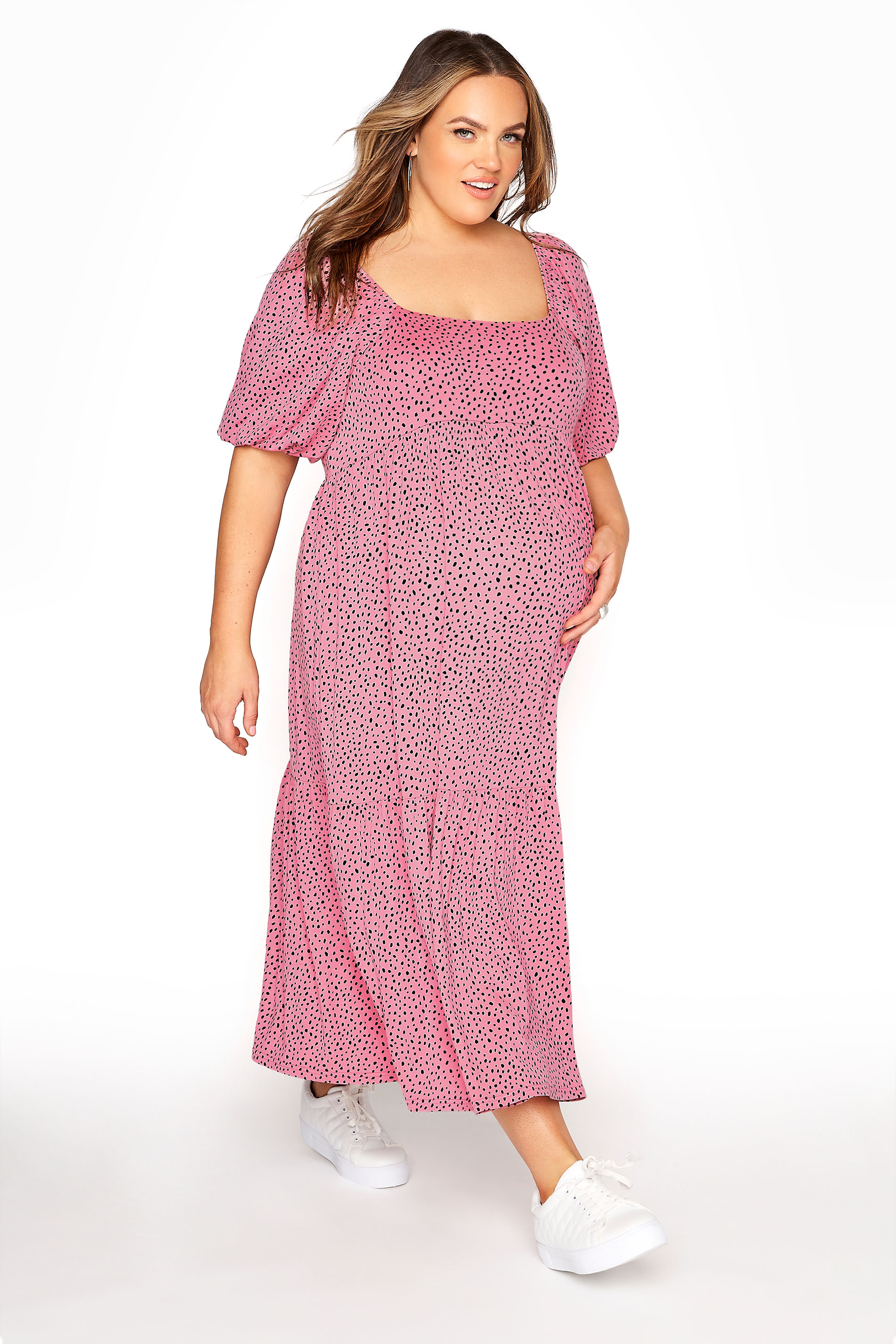BUMP IT UP MATERNITY Pink Square Neck Midaxi Dress_A.jpg