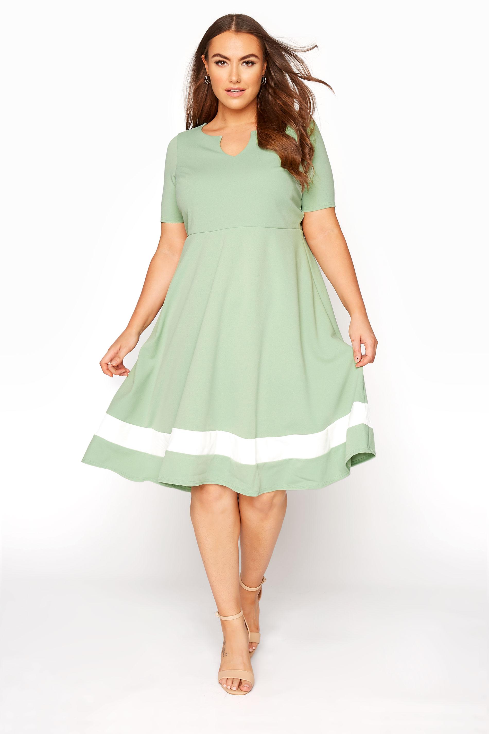 YOURS LONDON Sage Green Notch Neck Skater Dress