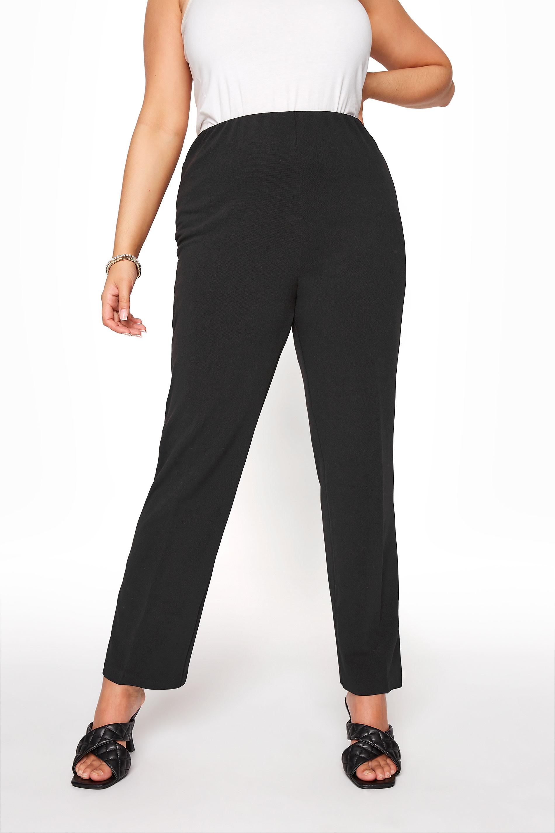 BESTSELLER Black Pull On Ribbed Bootcut Trousers_B.jpg