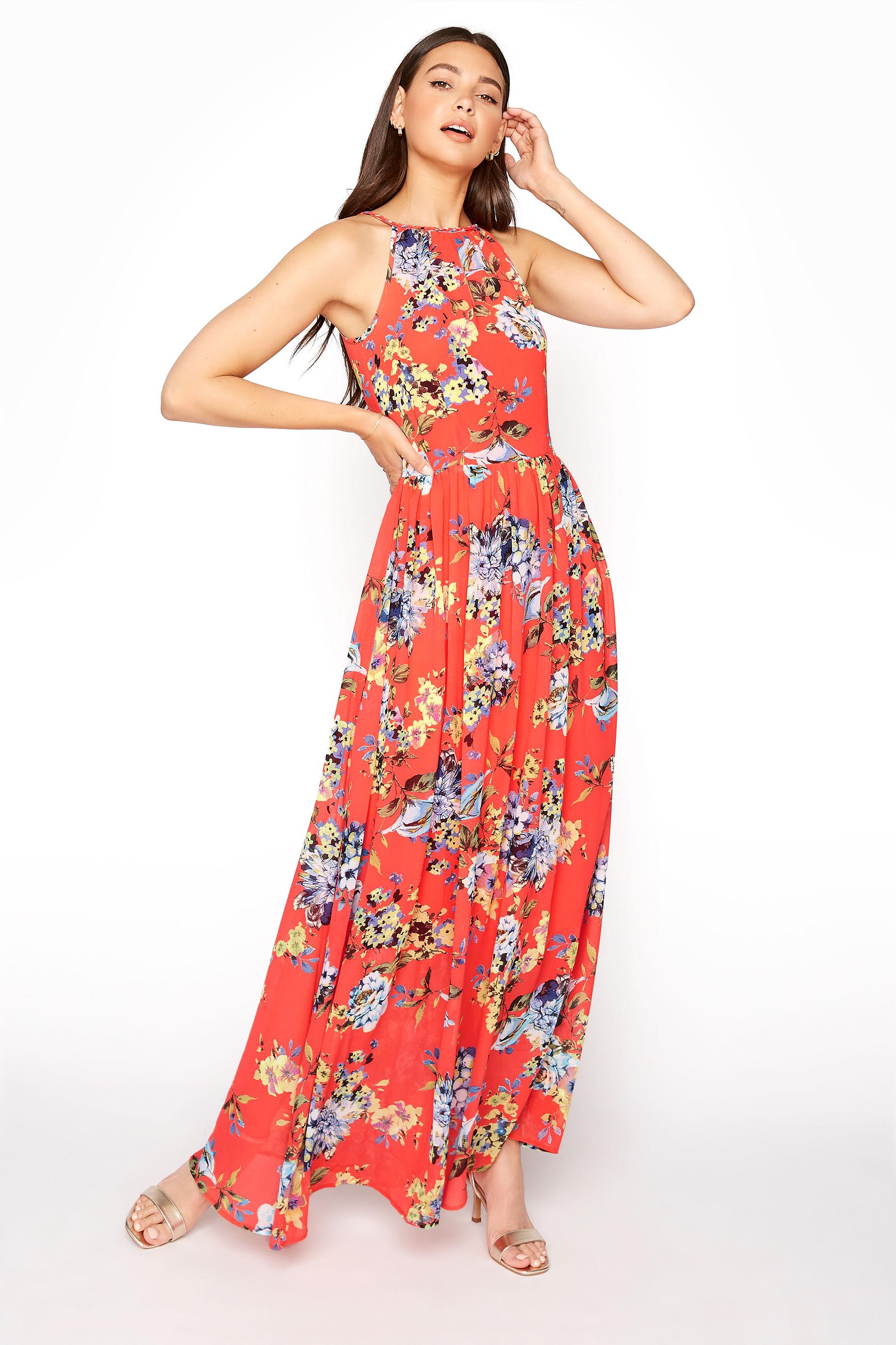 LTS Coral Floral Halter Neck Maxi Dress_A.jpg