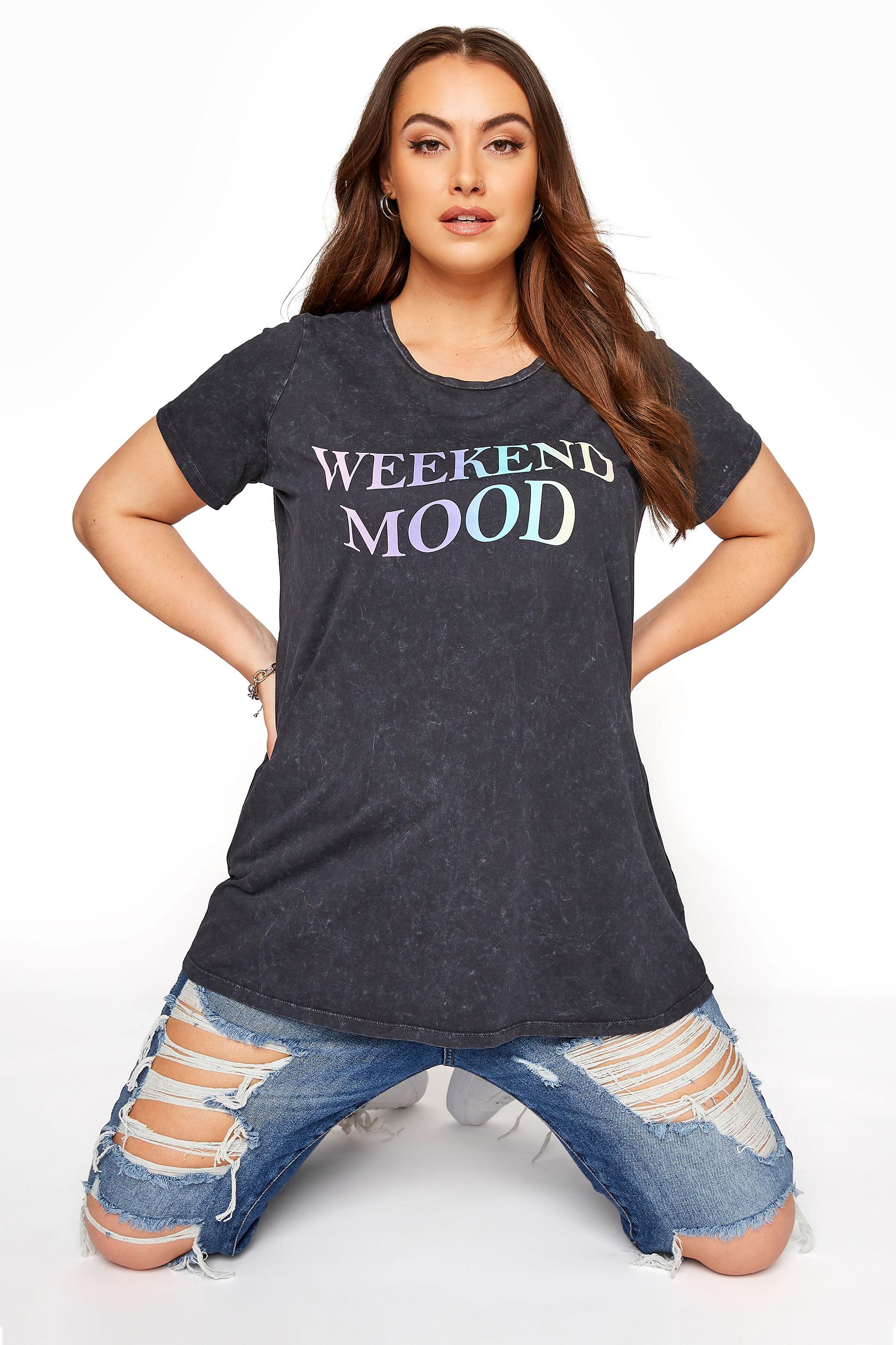 Black Acid Wash 'Weekend Mood' Slogan T-Shirt