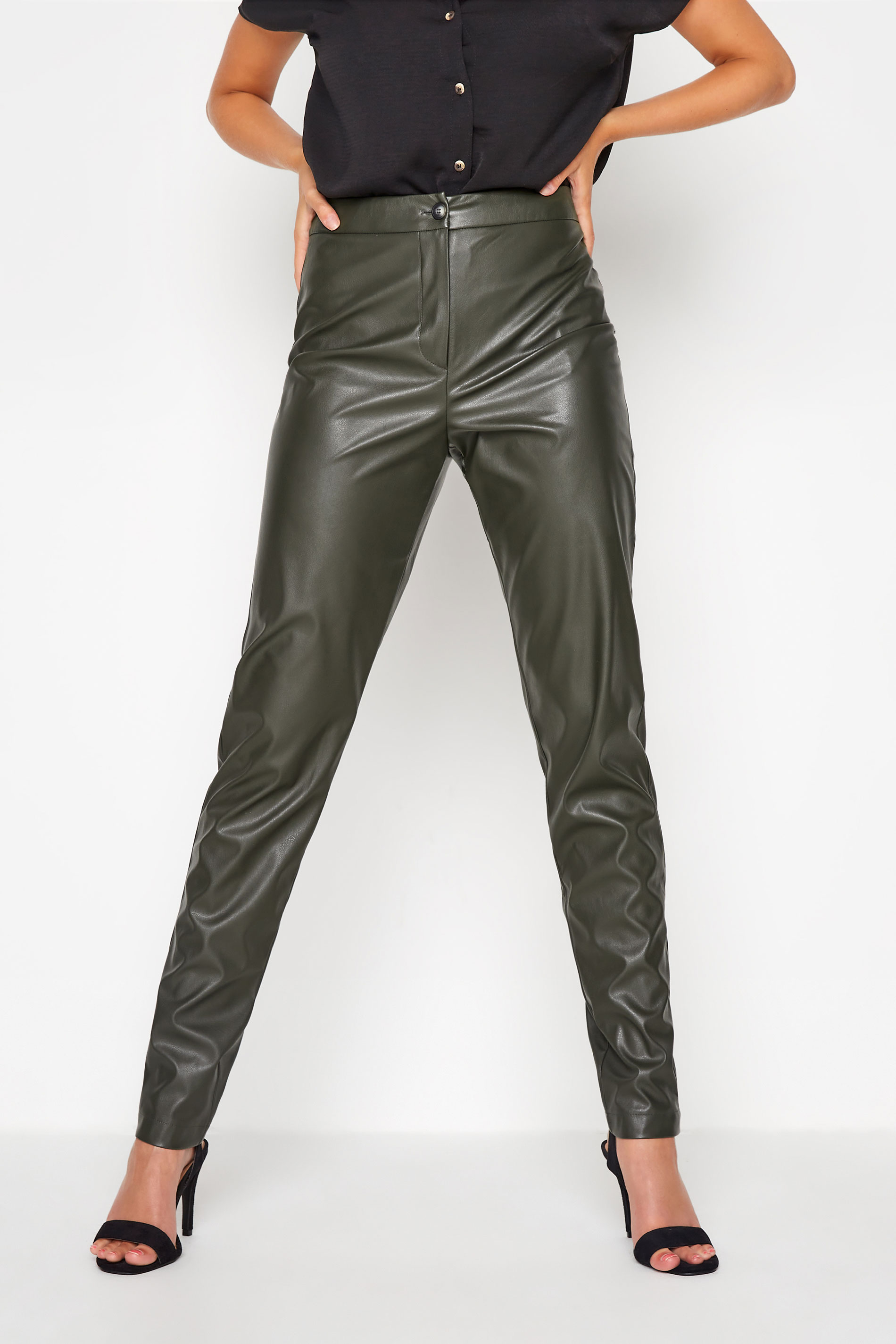 LTS Khaki Faux Leather Slim Leg Trousers_B.jpg