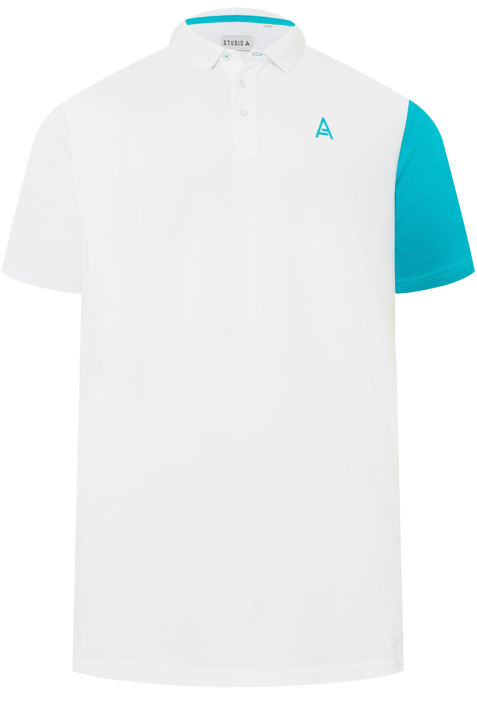 STUDIO A White Colour Block Polo Shirt