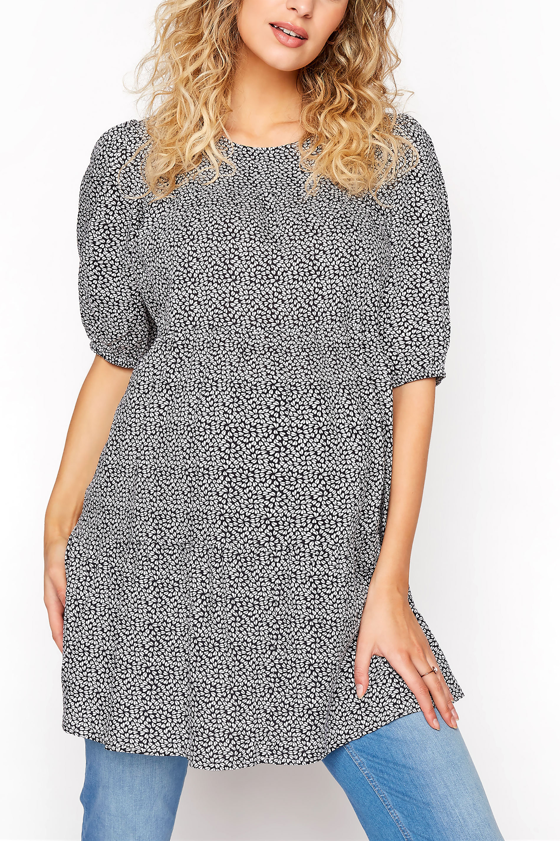 LTS Maternity Ditsy Tiered Balloon Sleeve Top_A.jpg