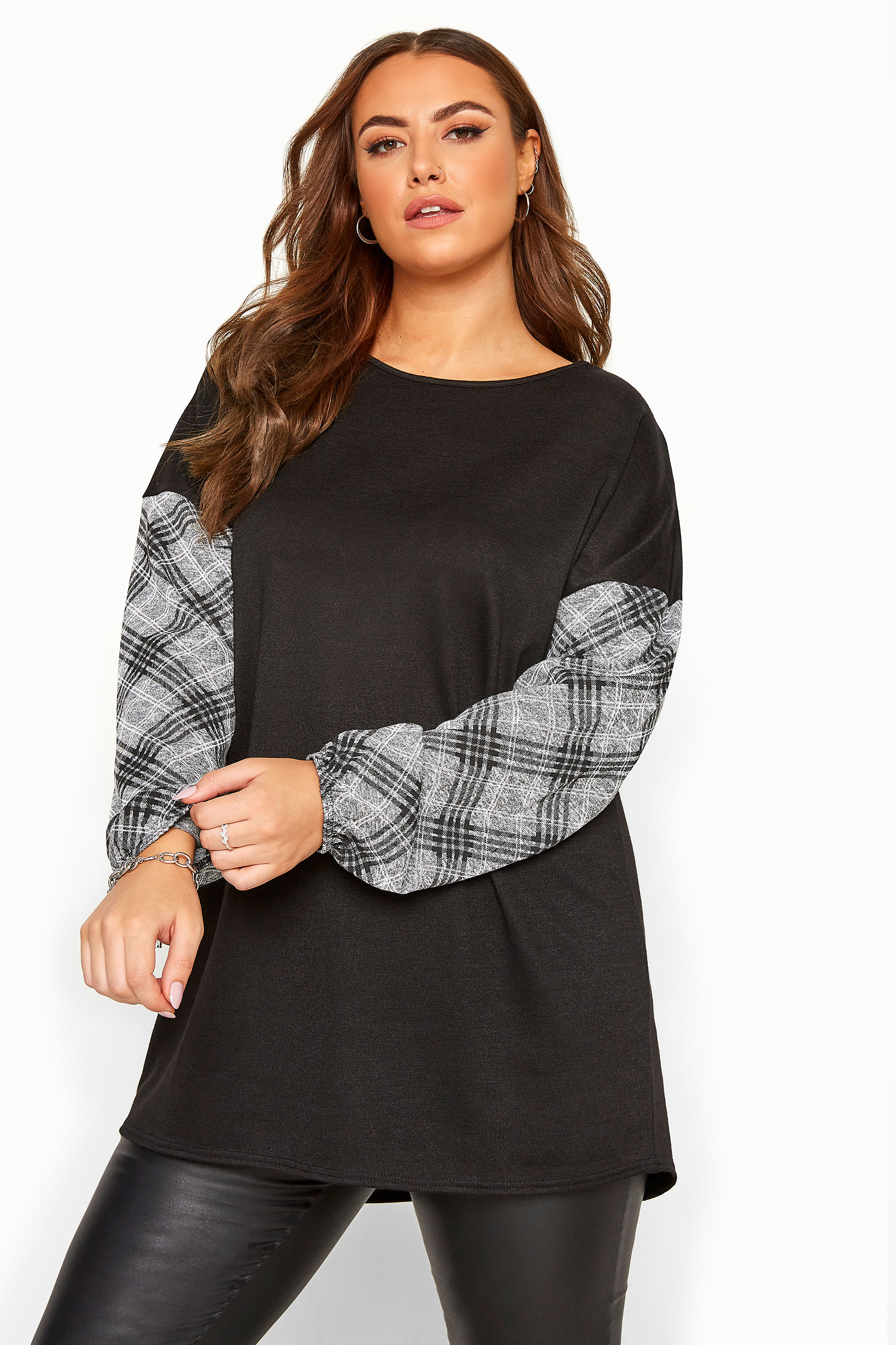 Black Check Sleeve Knitted Top