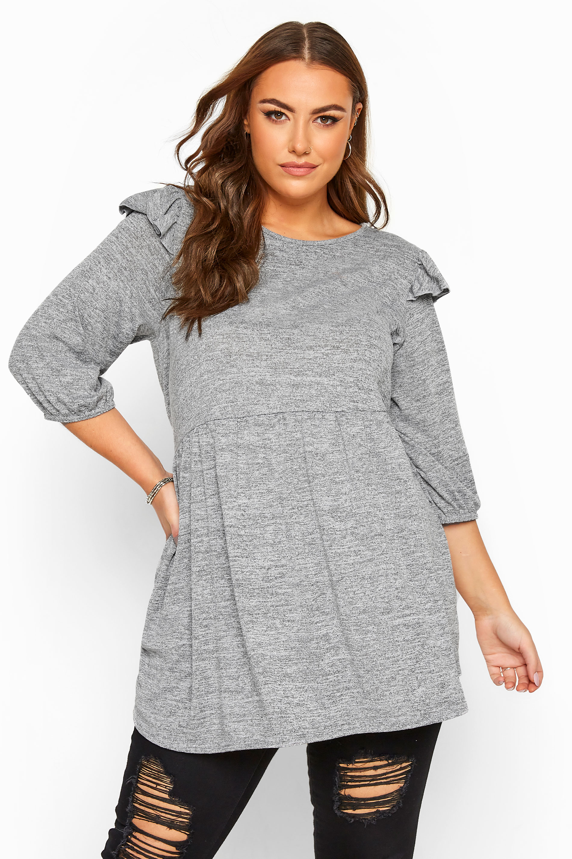Grey Marl Frill Knitted Peplum Top