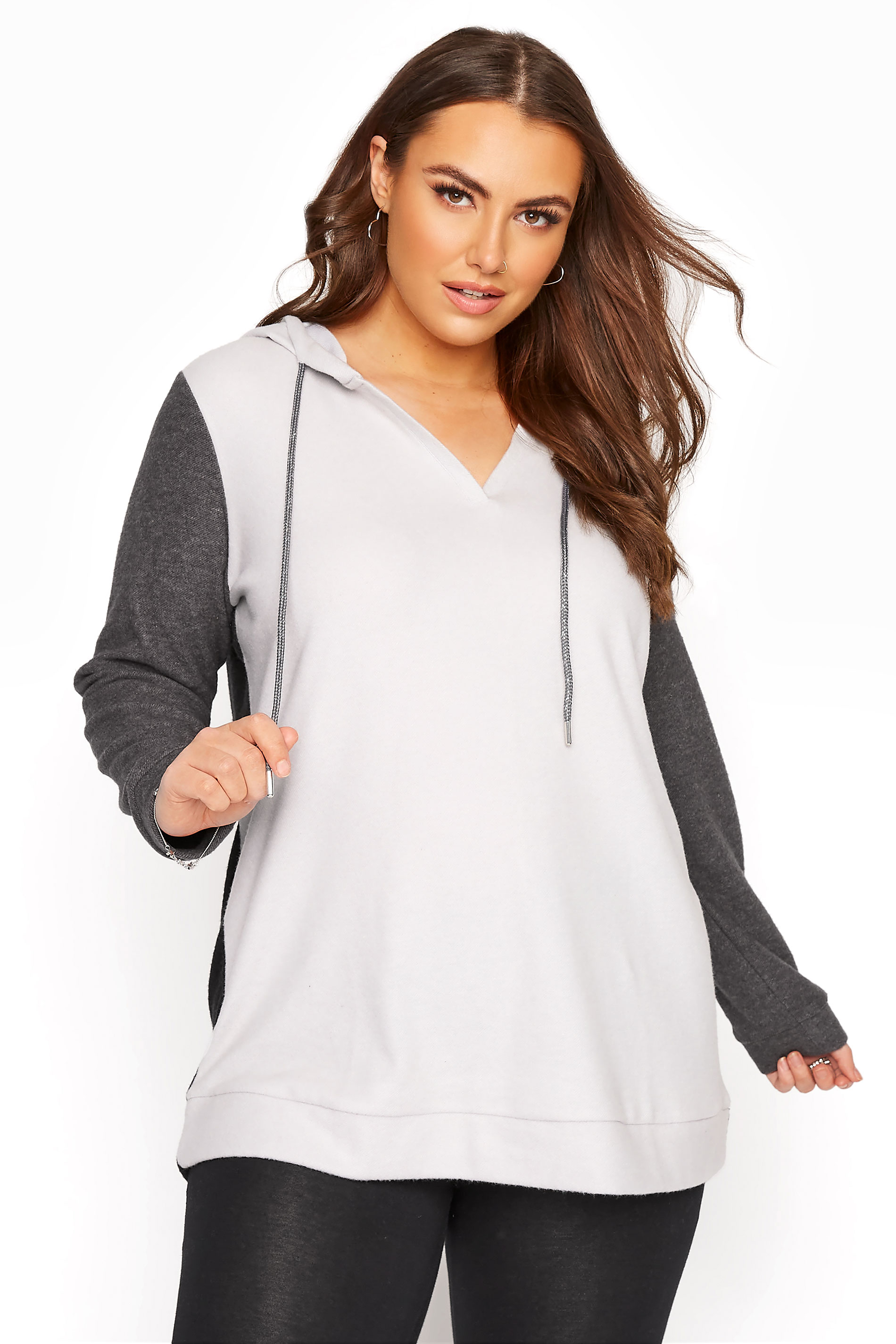 Grey Colour Block Hoodie