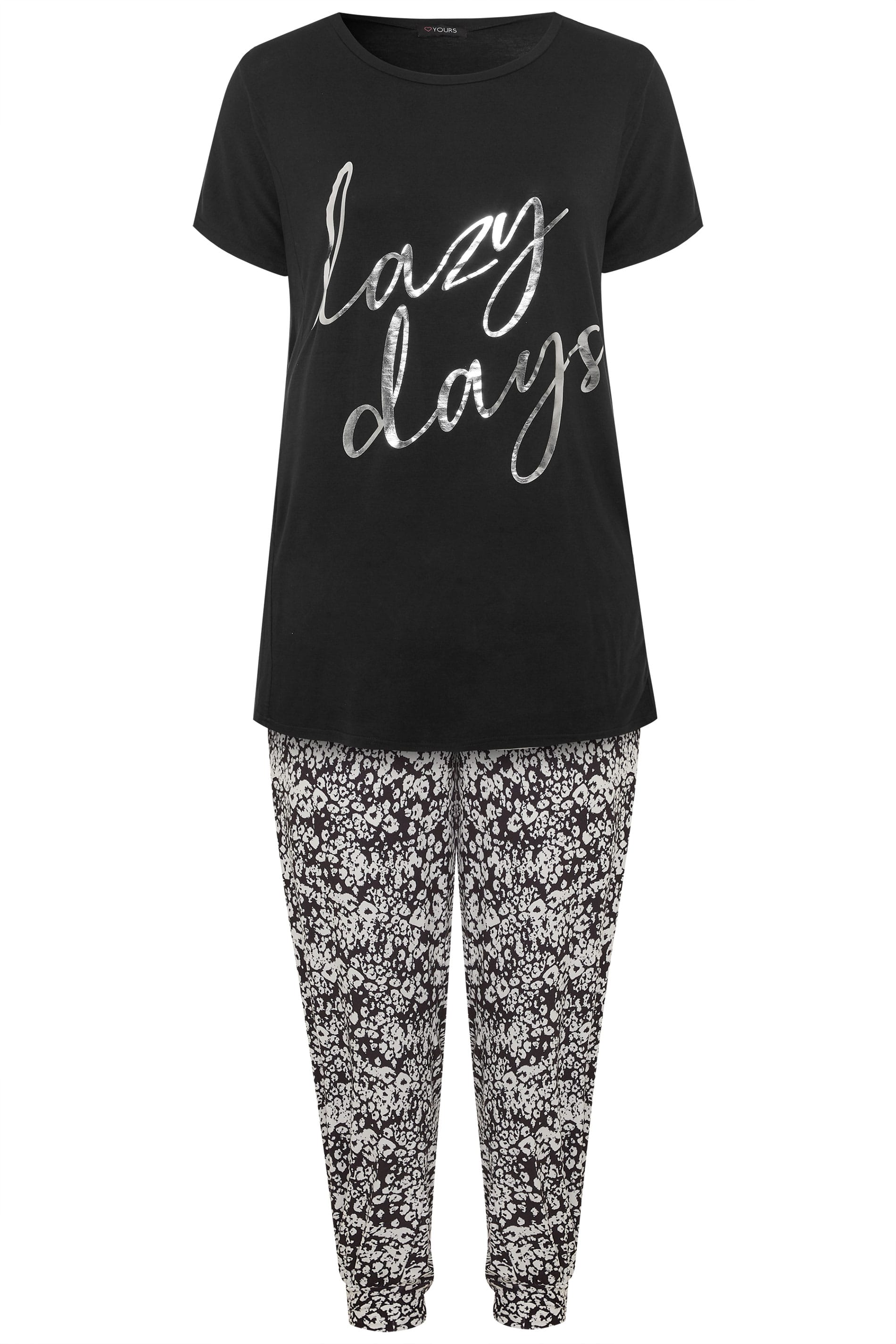 Lounge Mode Set 'Lazy Days'   Schwarz/Grau   Yours Clothing