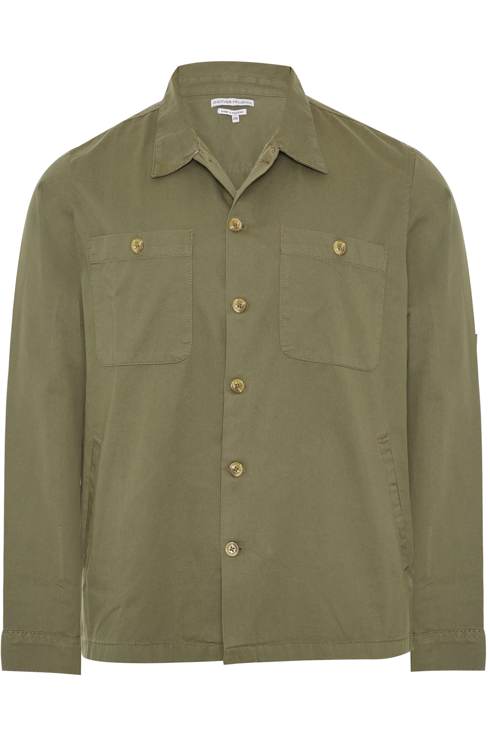 ANOTHER INFLUENCE Khaki Twill Utility Overshirt
