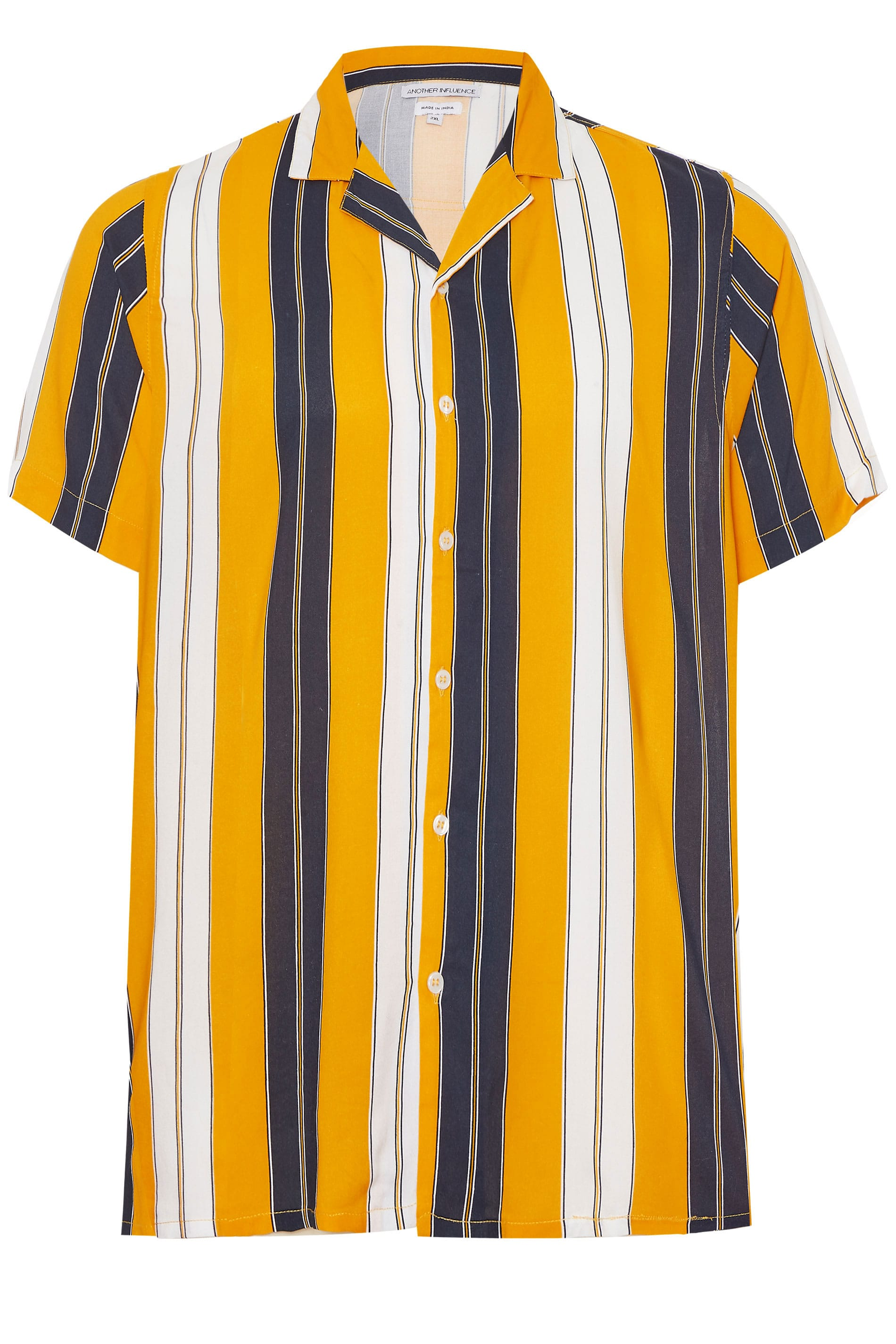ANOTHER INFLUENCE Orange & Navy Striped Shirt